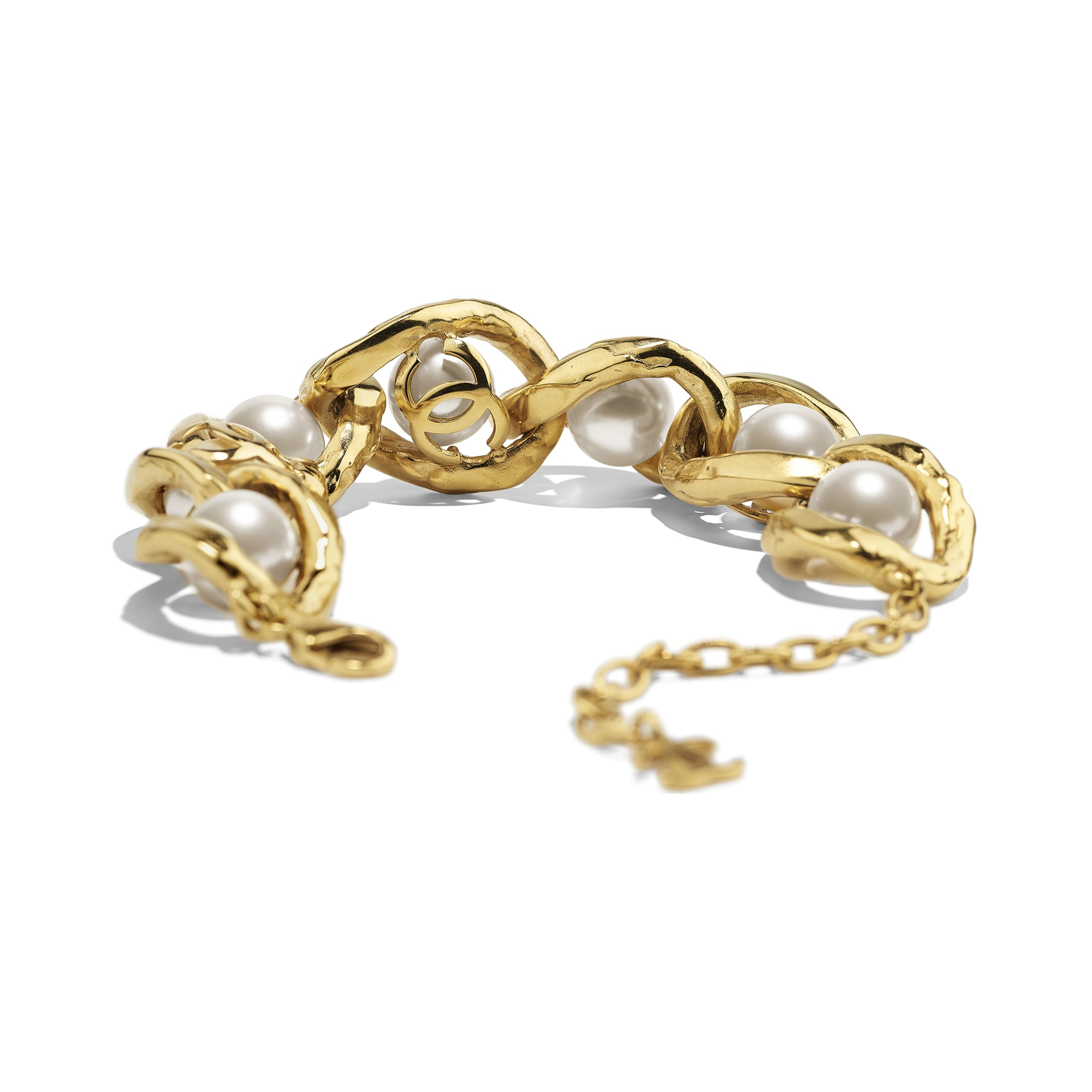 Bracelet - Gold & Pearly White - Metal & Imitation Pearls - Alternative view - see standard sized version