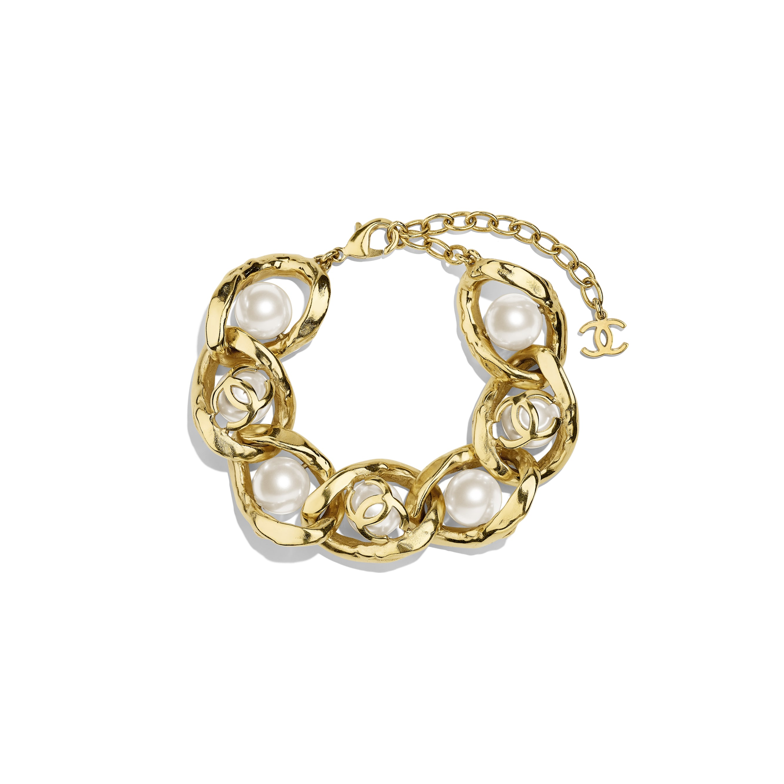 Bracelet - Gold & Pearly White - Metal & Imitation Pearls - Default view - see standard sized version