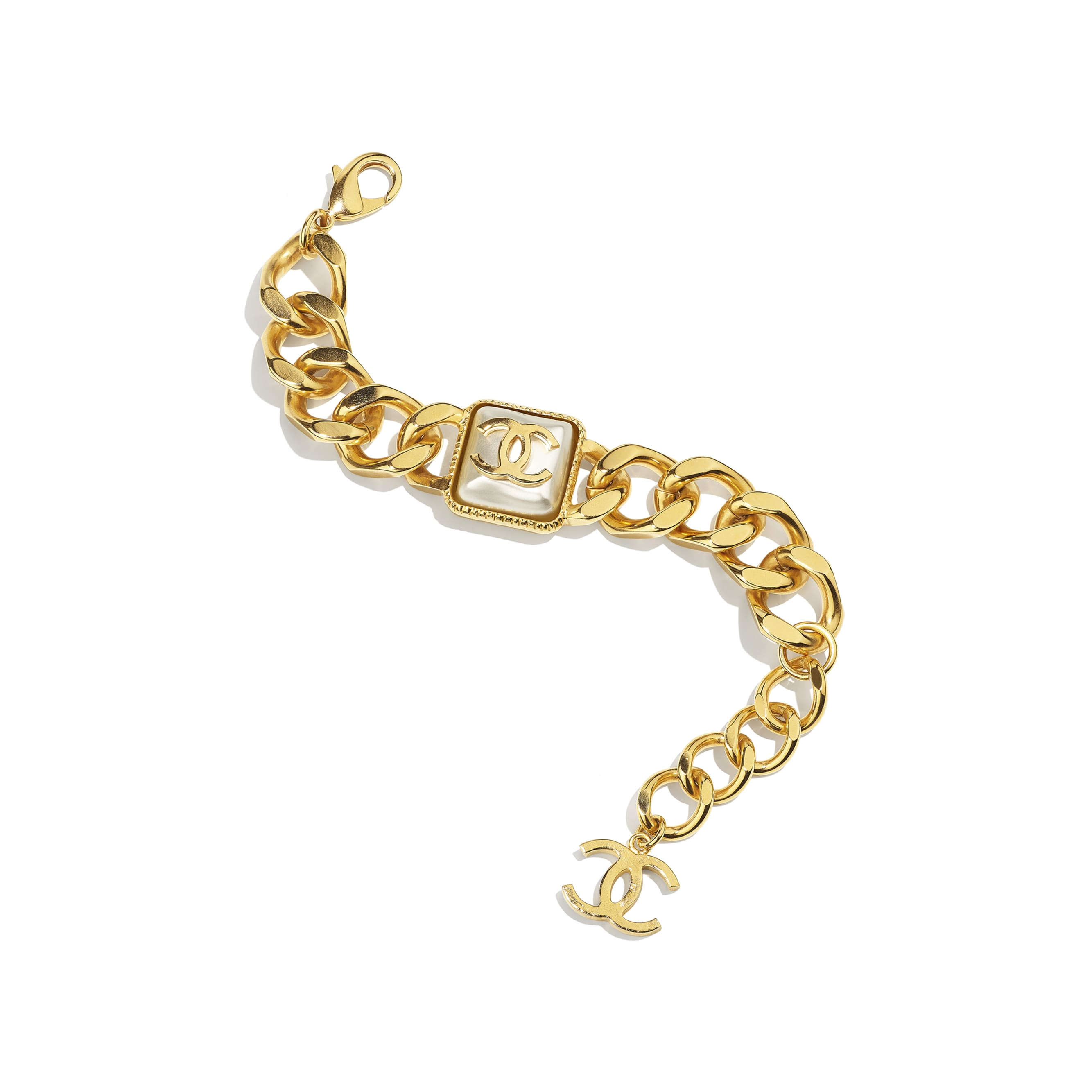 Bracelet - Gold & Pearly White - Metal & Resin - CHANEL - Default view - see standard sized version