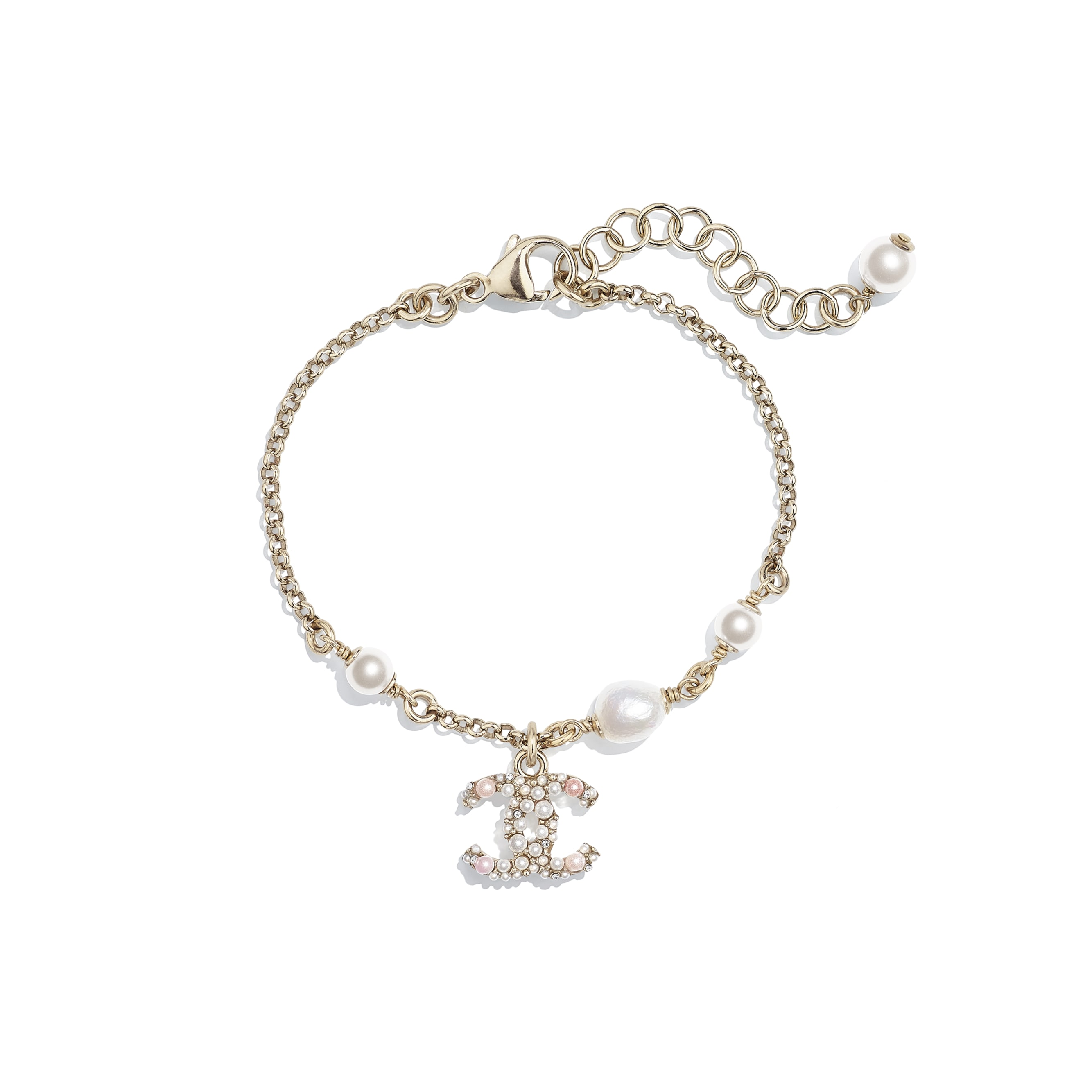Bracelet - Gold, Pearly White, Pink & Crystal - Metal, Cultured Freshwater Pearls, Glass Pearls & Strass - CHANEL - Default view - see standard sized version