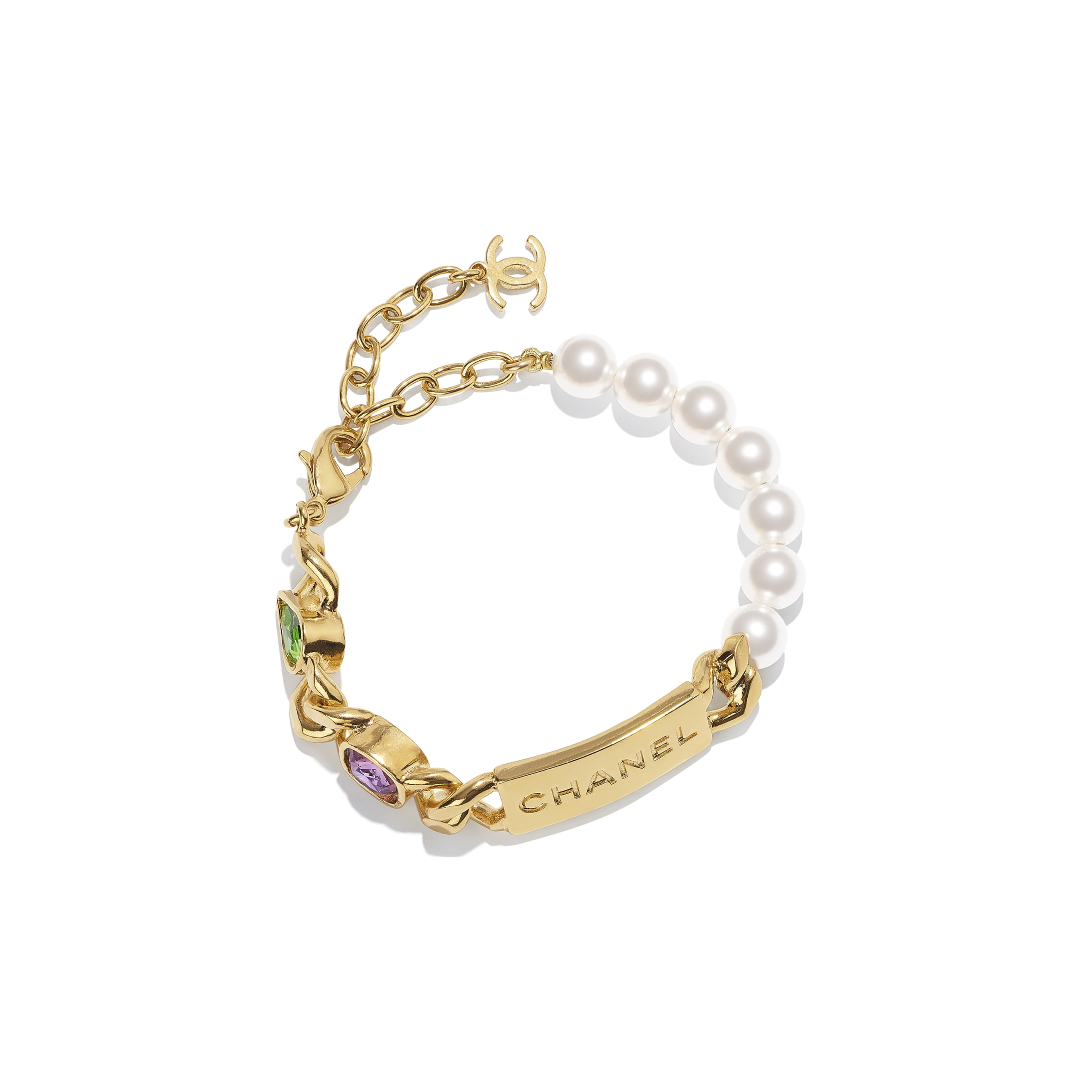 Bracelet - Gold, Pearly White, Purple & Green - Metal, Glass Pearls & Diamantés - CHANEL - Default view - see standard sized version