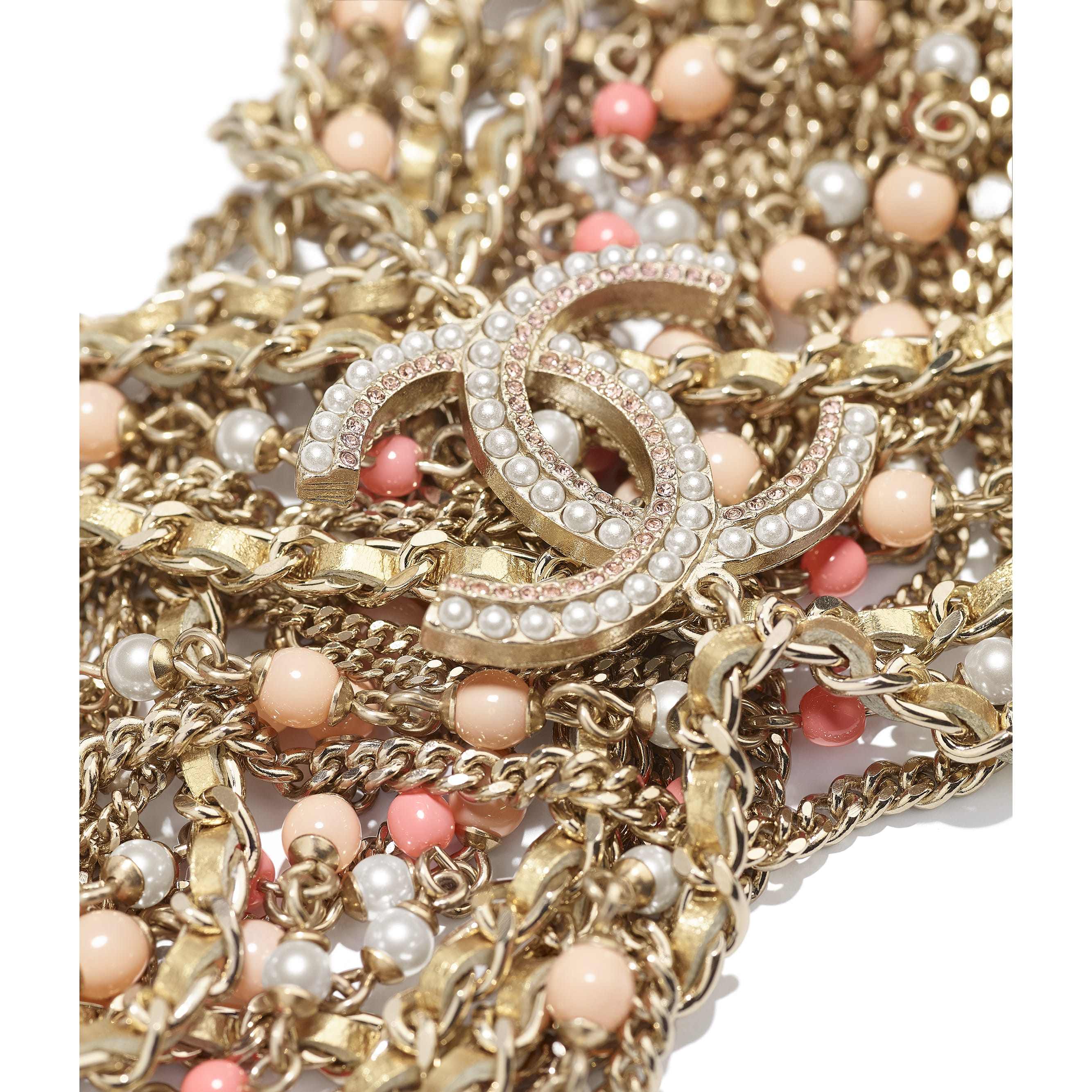 Bracelet - Gold, Pink & Pearly White - Metal, Lambskin, Glass Pearls & Strass - CHANEL - Alternative view - see standard sized version