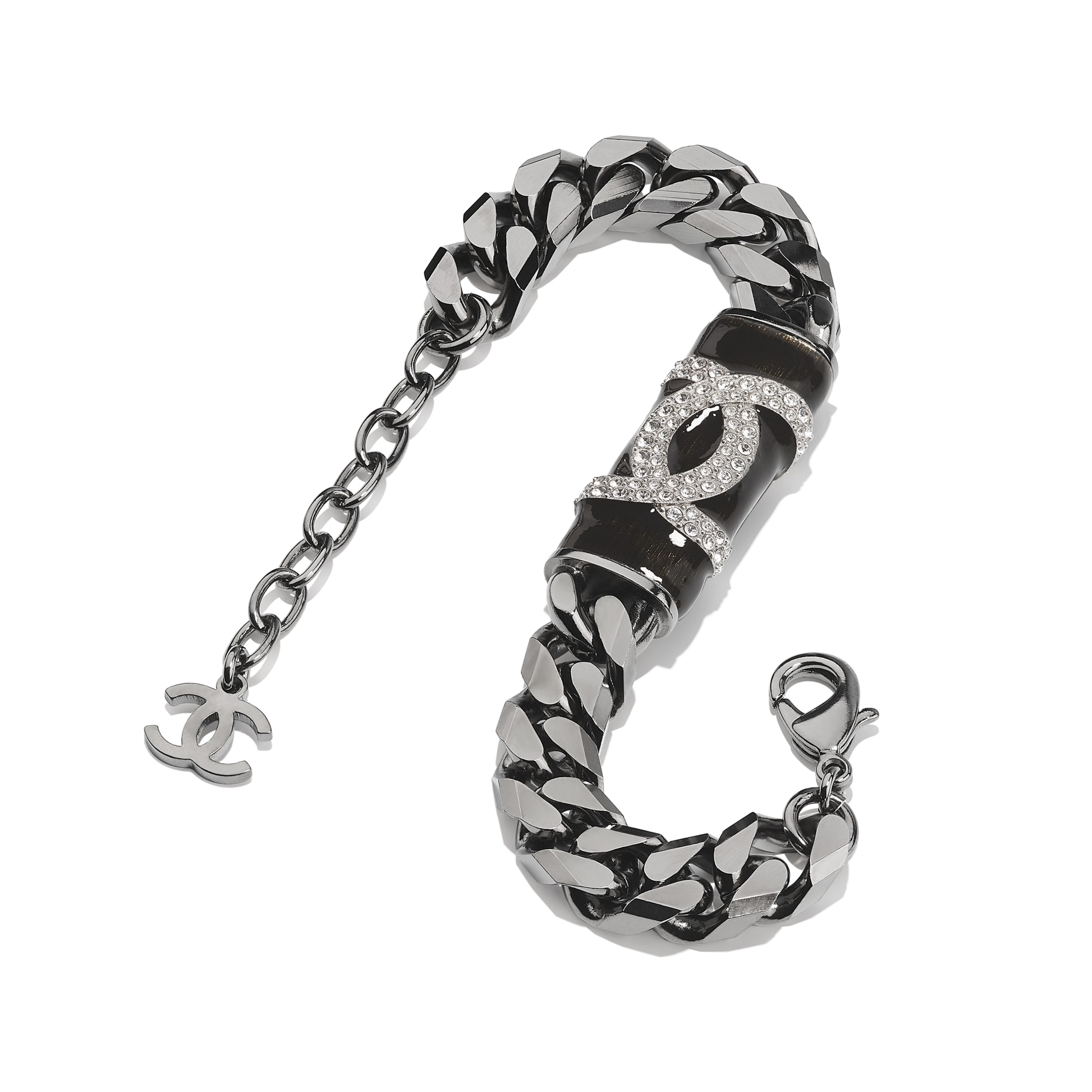 Bracelet - Ruthenium, Black & Crystal - Metal & Diamantés - CHANEL - Alternative view - see standard sized version