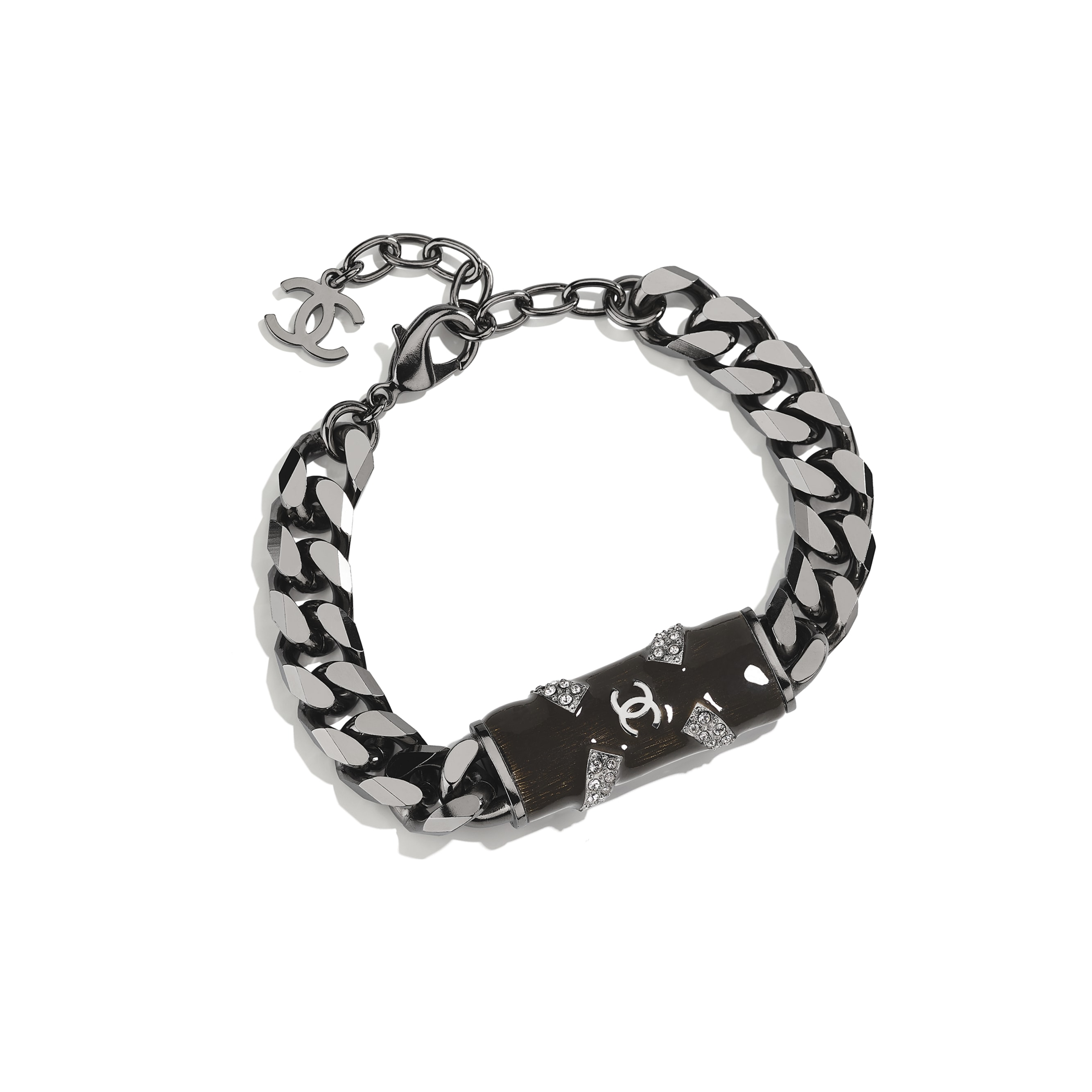 Bracelet - Ruthenium, Black & Crystal - Metal & Diamantés - CHANEL - Default view - see standard sized version