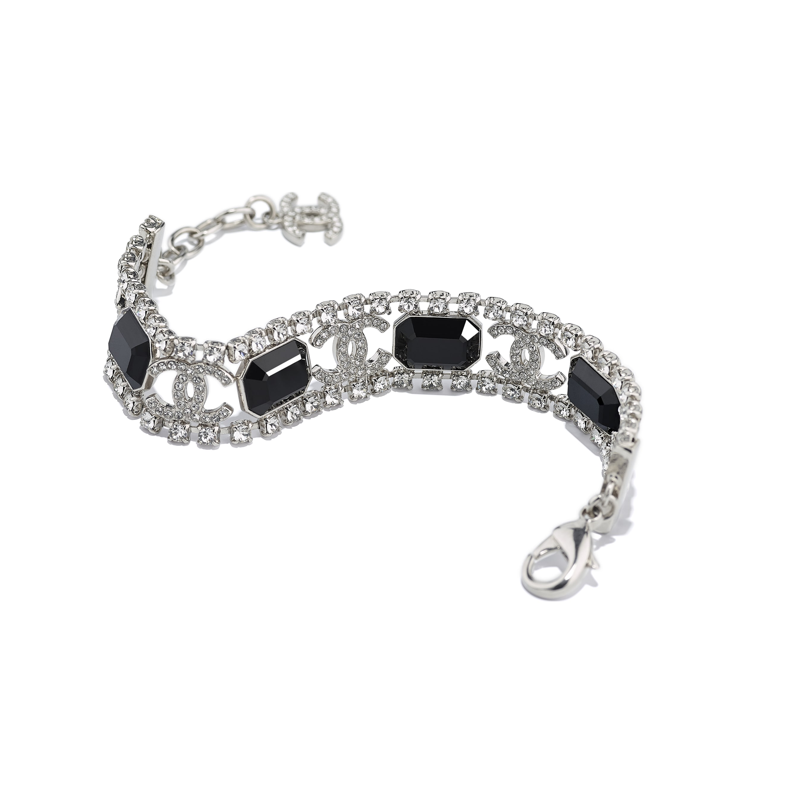 Bracelet - Silver, Crystal & Black - Metal & Diamantés - CHANEL - Alternative view - see standard sized version