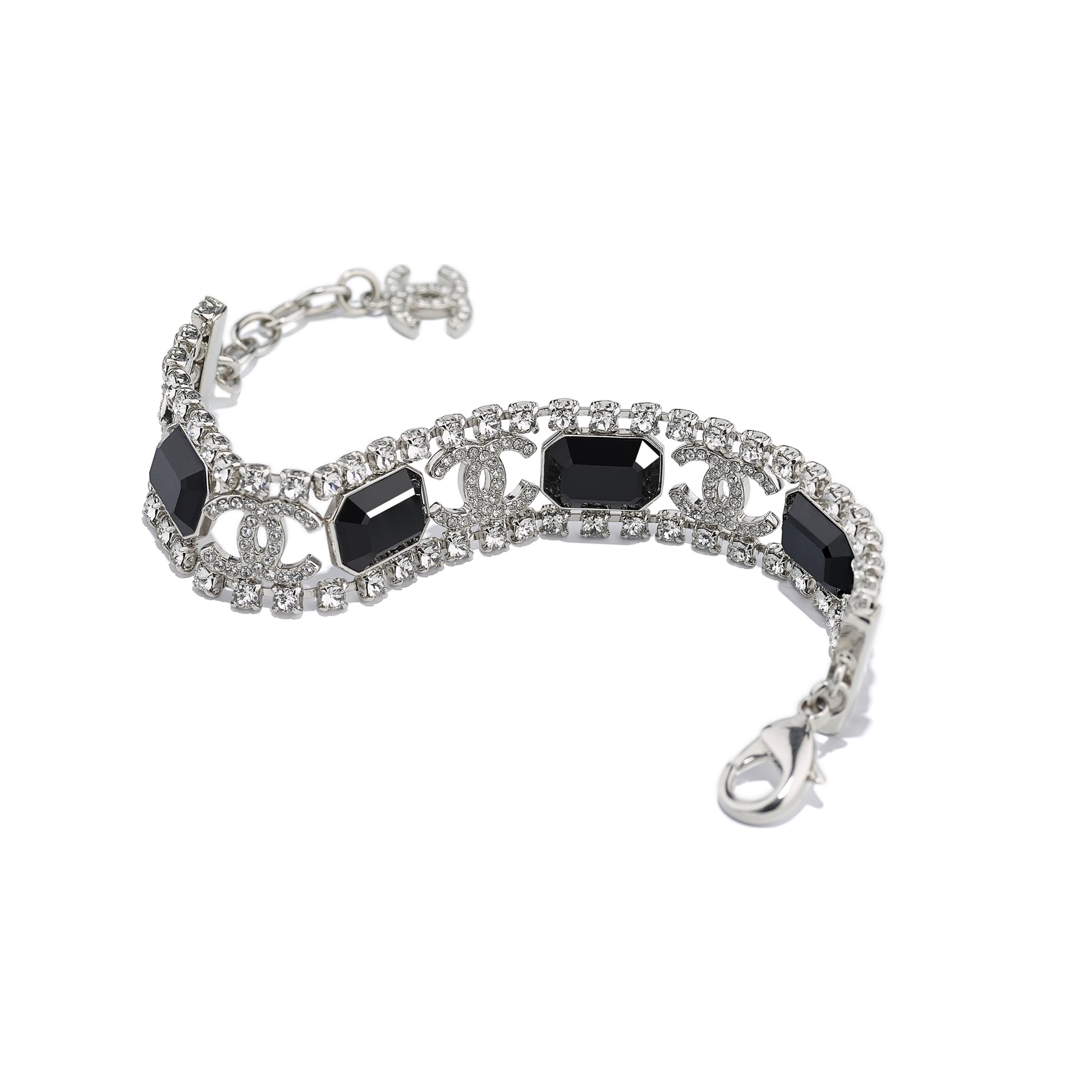 Bracelet - Silver, Crystal & Black - Metal & Diamantés - Alternative view - see standard sized version