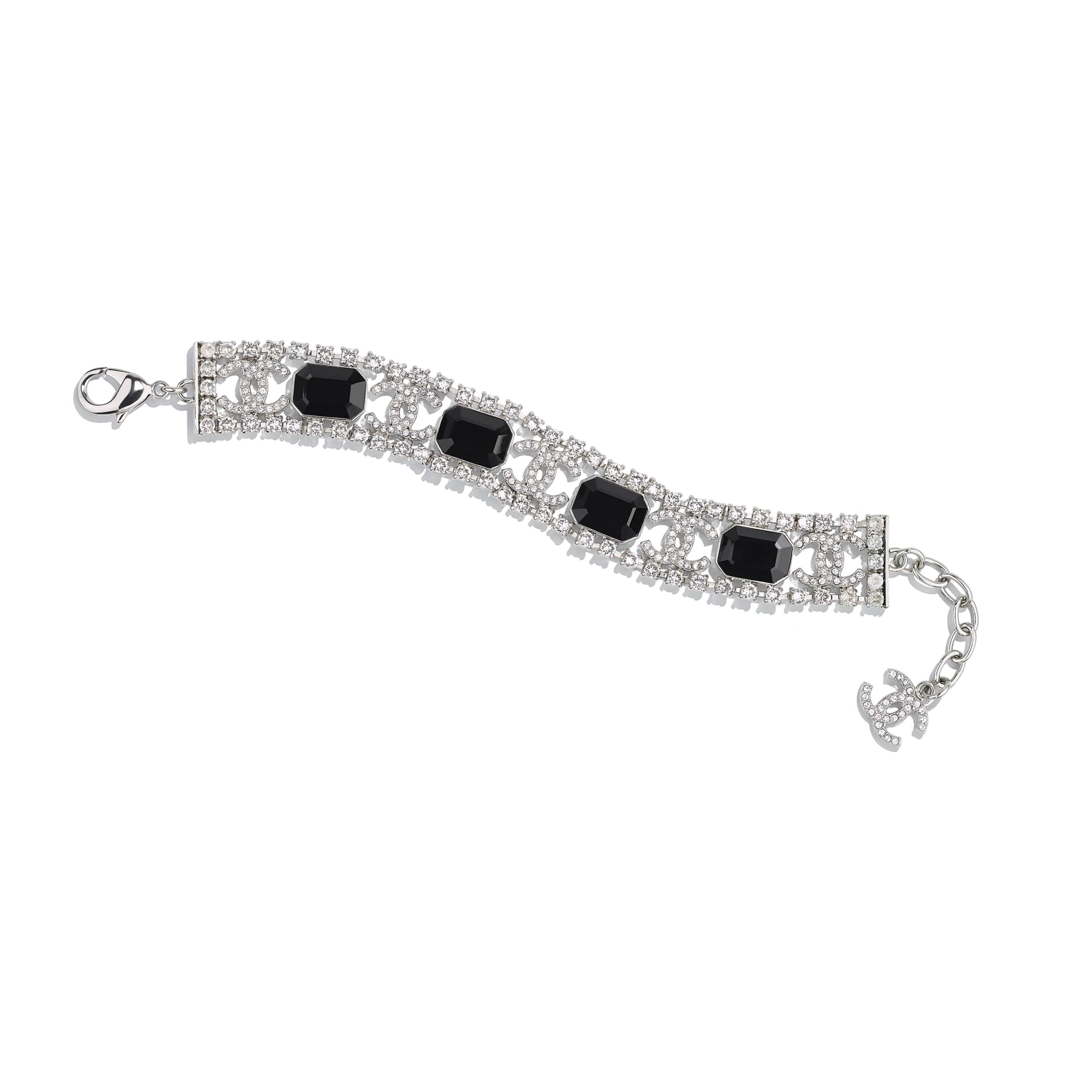Bracelet - Silver, Crystal & Black - Metal & Diamantés - Default view - see standard sized version
