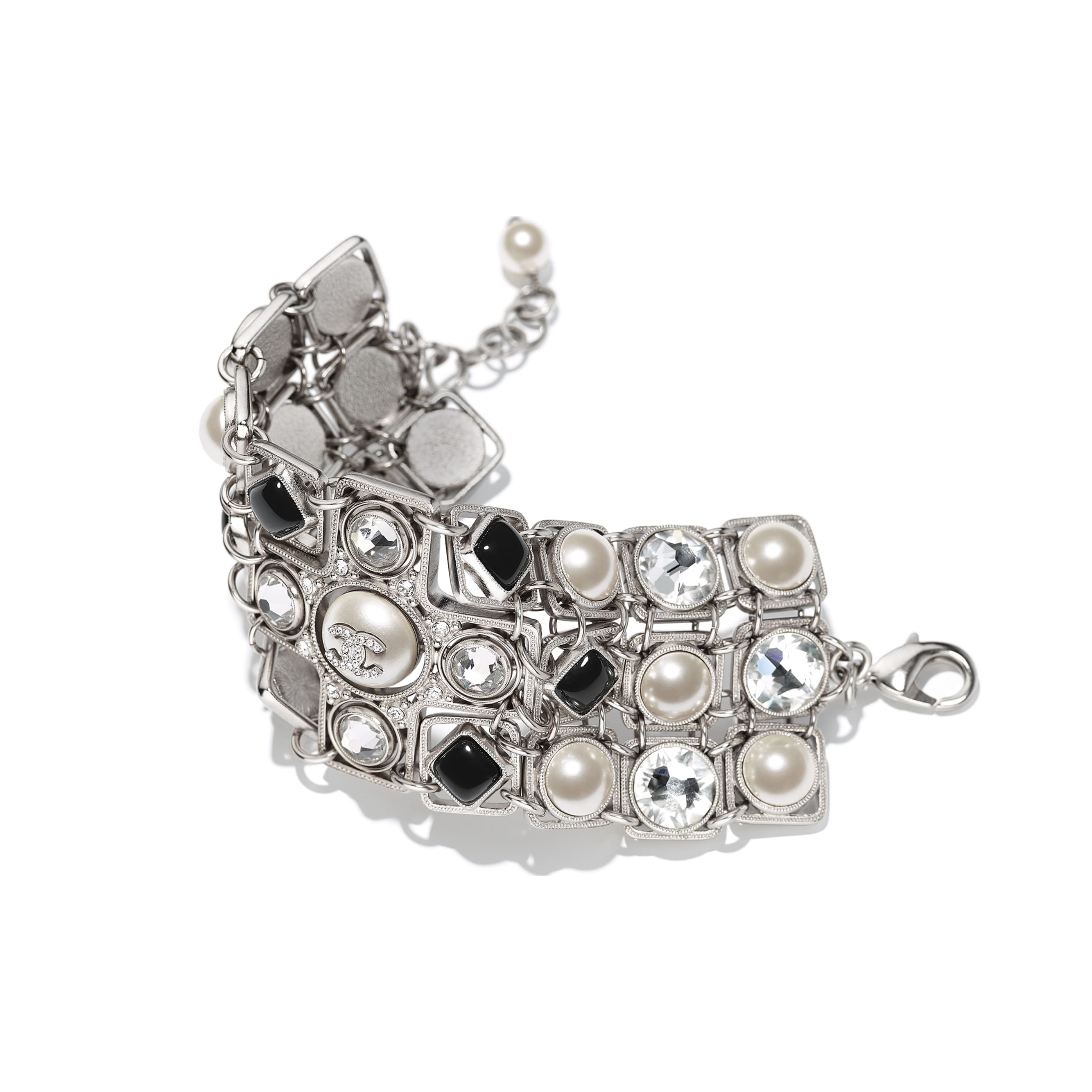 Bracelet - Silver, Pearly White, Black & Crystal - Metal, Glass Pearls, Glass & Strass - Alternative view - see standard sized version