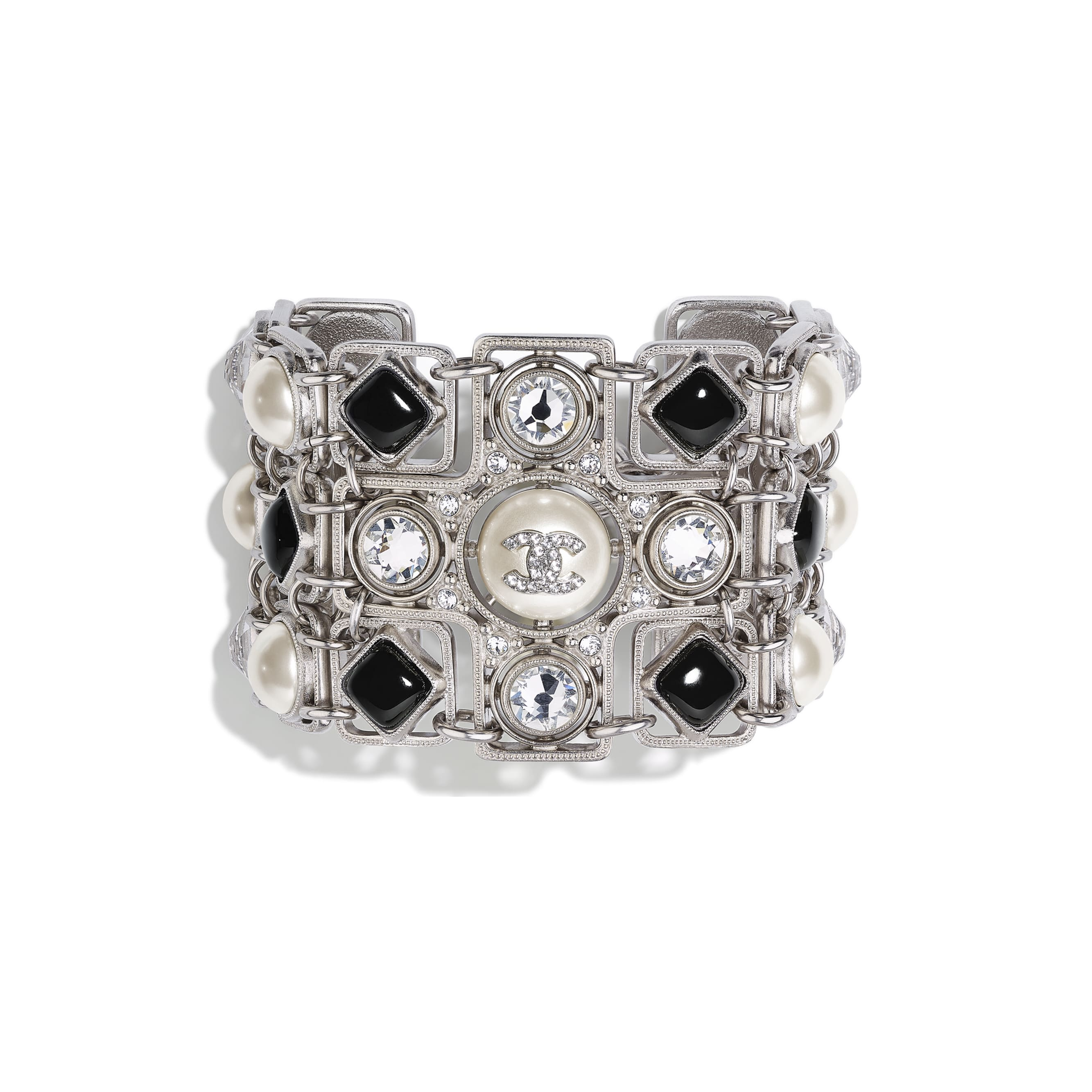 Bracelet - Silver, Pearly White, Black & Crystal - Metal, Glass Pearls, Glass & Strass - CHANEL - Default view - see standard sized version