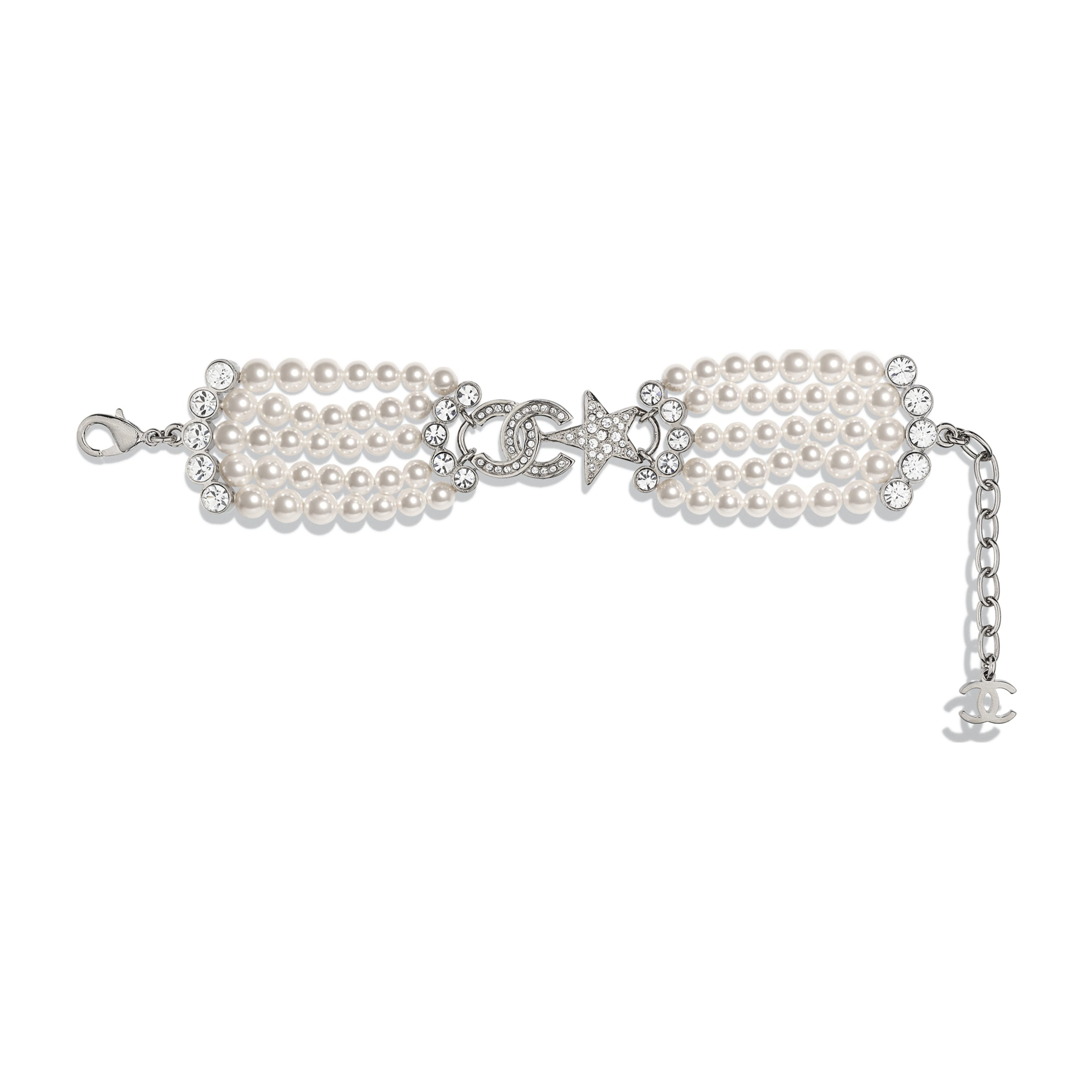 Bracelet - Silver, Pearly White & Crystal - Metal, Glass Pearls & Diamantés - CHANEL - Default view - see standard sized version