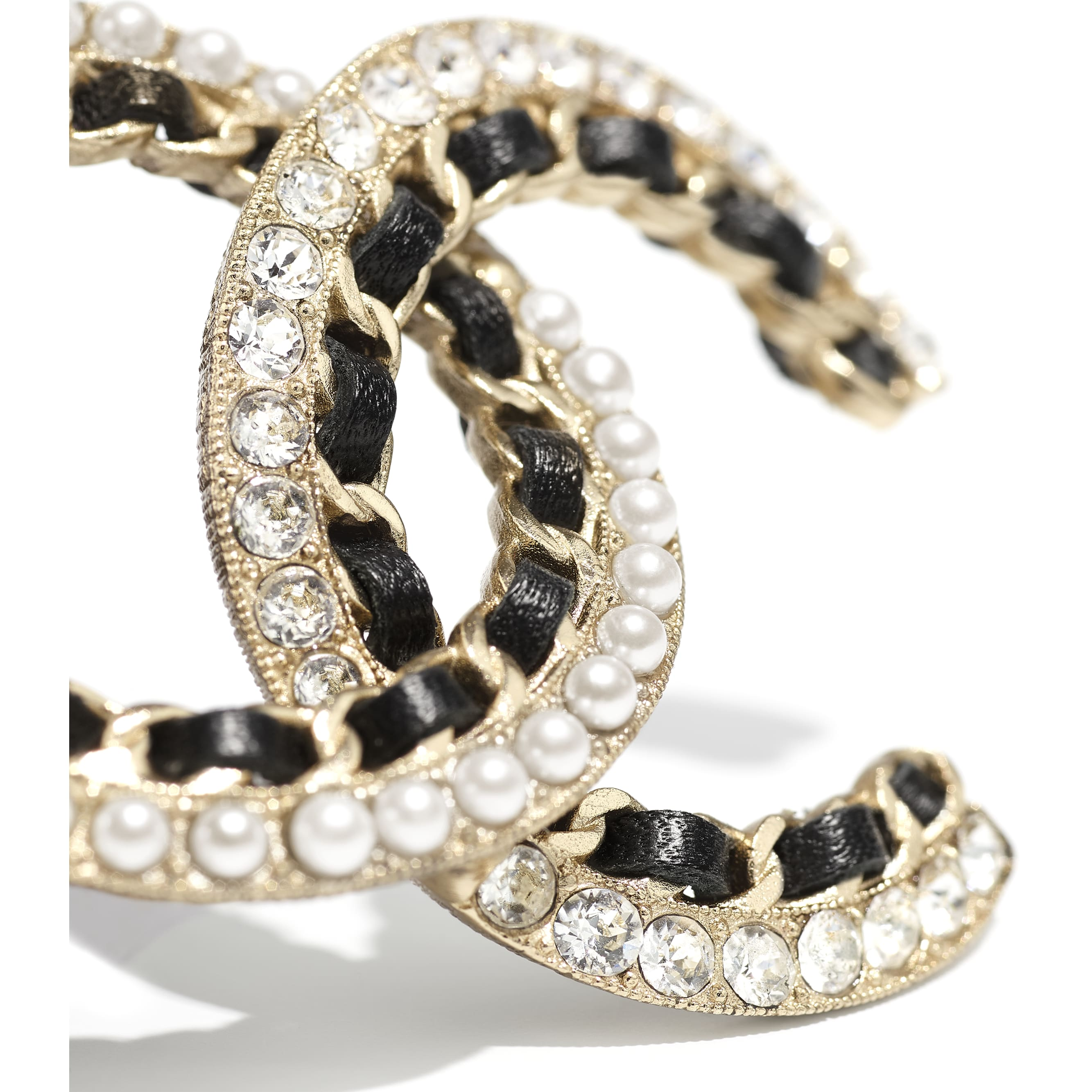 Brooch - Gold, Black, Pearly White & Crystal - Metal, Calfskin, Glass Pearls & Strass - CHANEL - Alternative view - see standard sized version