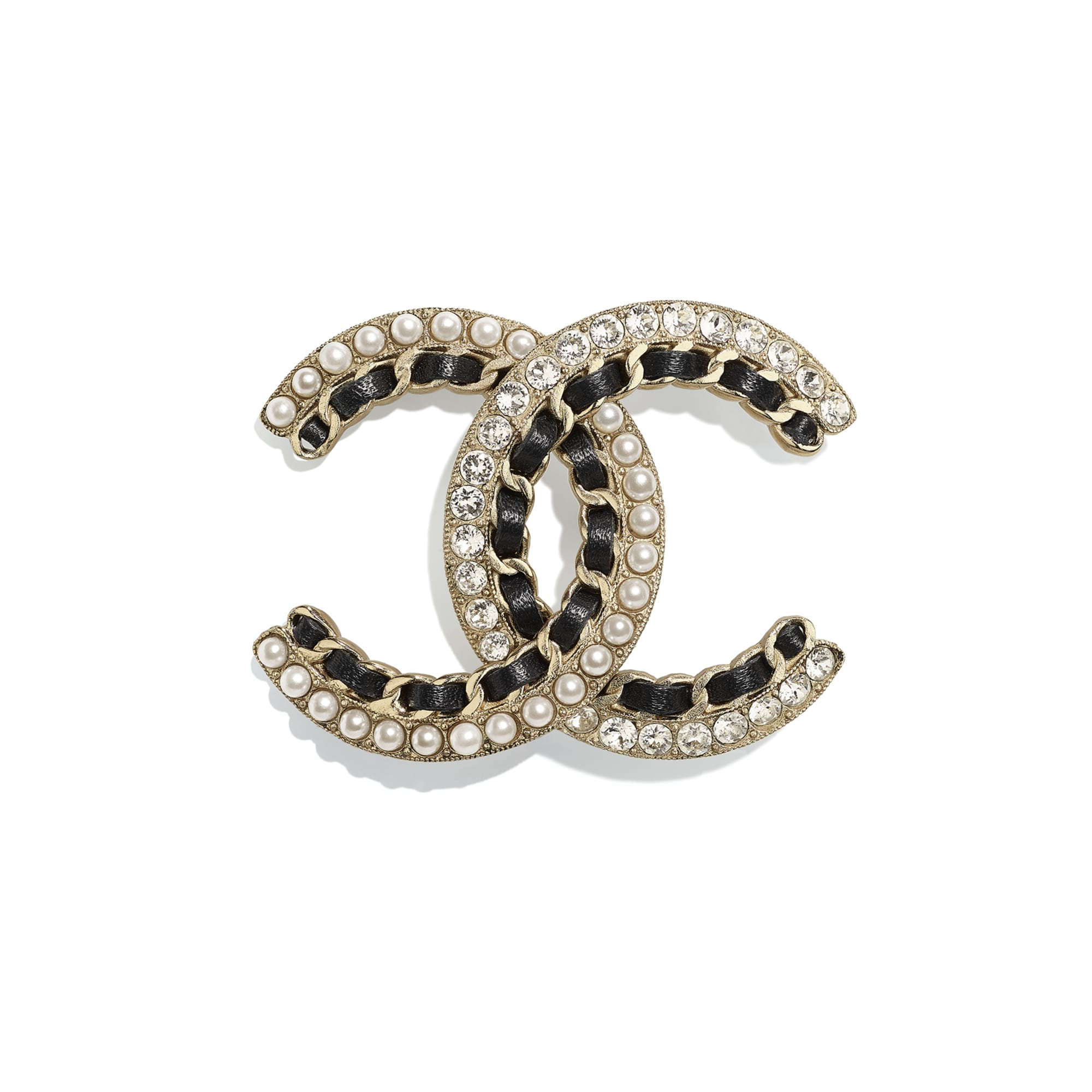 Brooch - Gold, Black, Pearly White & Crystal - Metal, Calfskin, Glass Pearls & Strass - CHANEL - Default view - see standard sized version