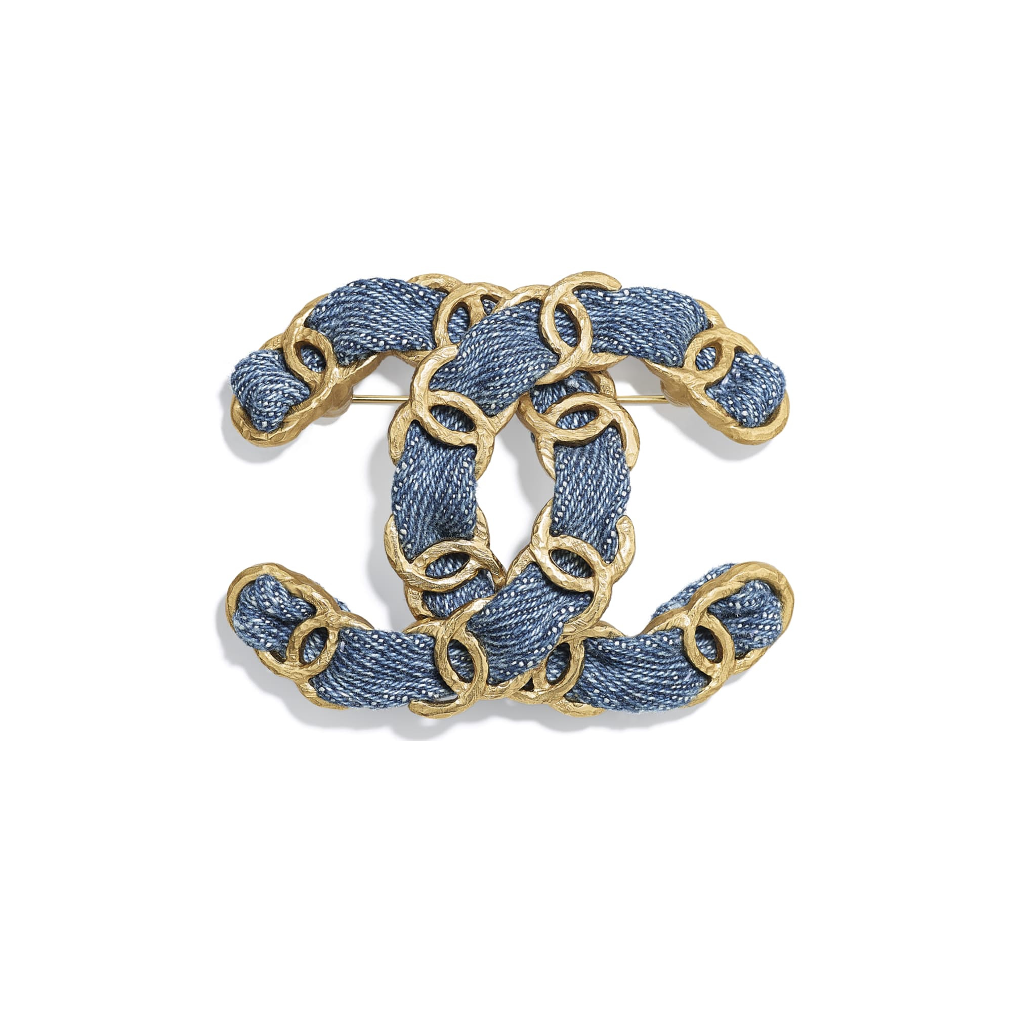 Brooch - Gold & Blue - Metal & Denim - Default view - see standard sized version