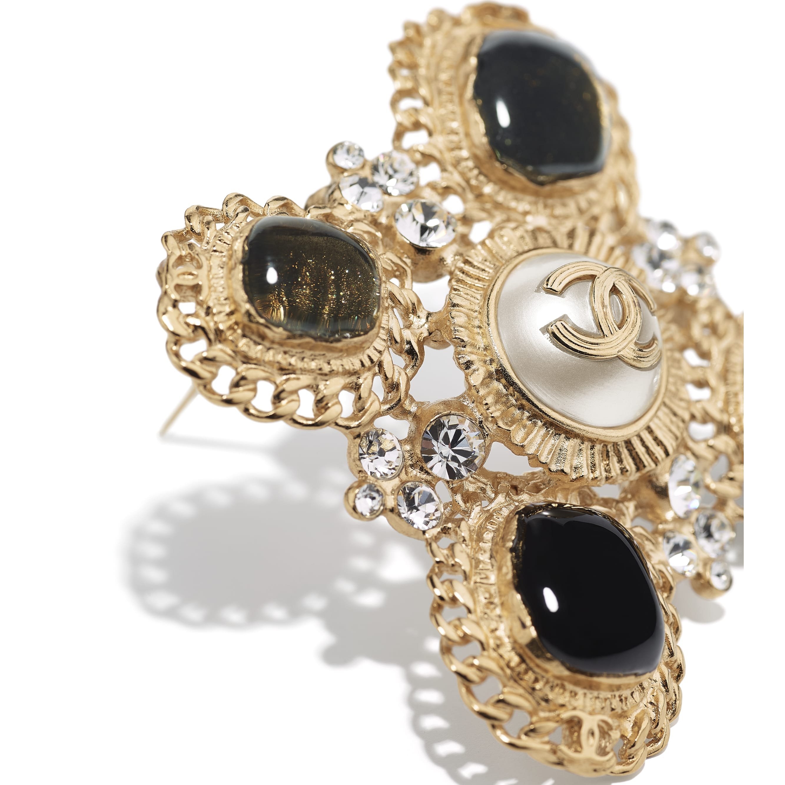 Brooch - Gold, Crystal, Pearly White & Black - Metal, Strass & Resin - CHANEL - Alternative view - see standard sized version