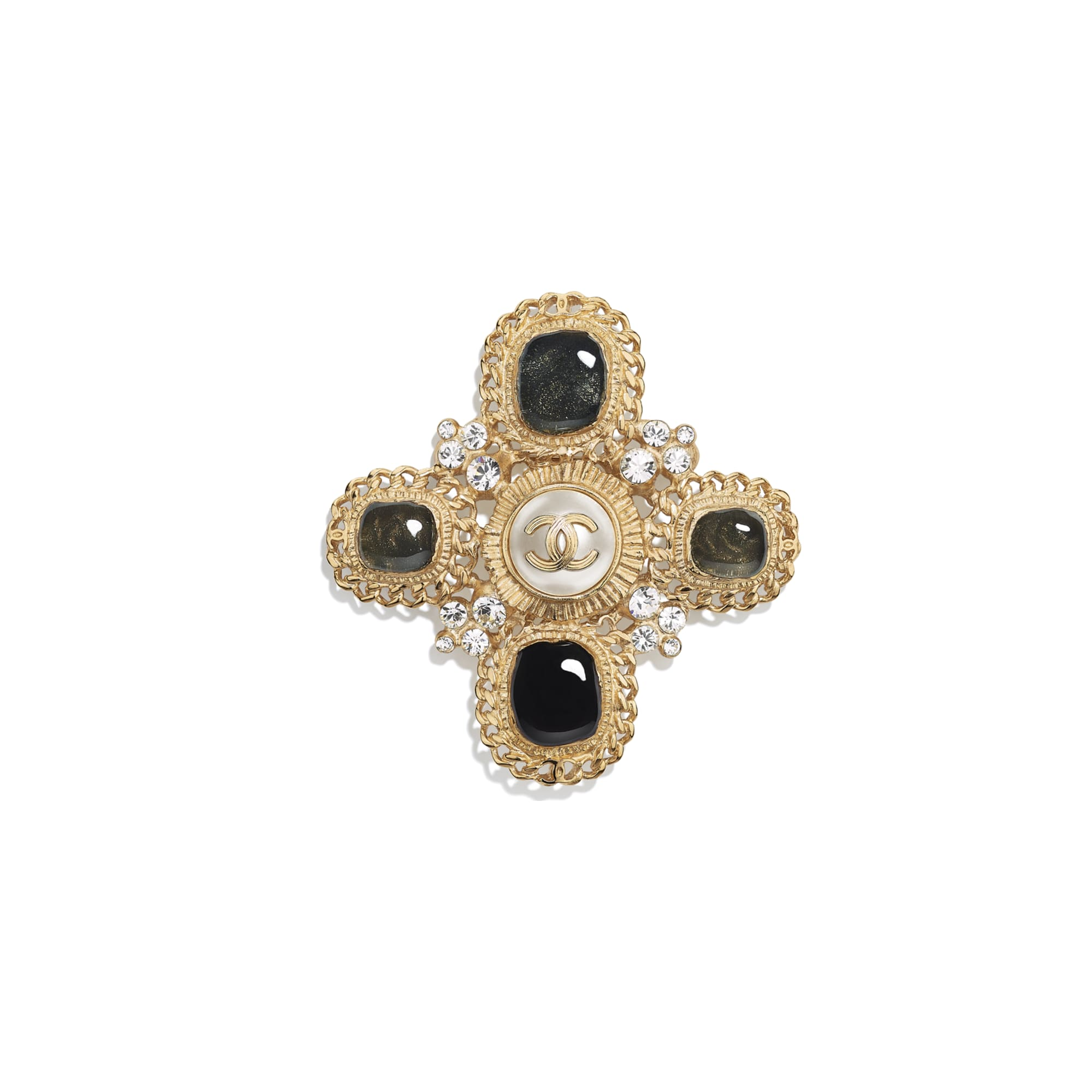 Brooch - Gold, Crystal, Pearly White & Black - Metal, Strass & Resin - CHANEL - Default view - see standard sized version