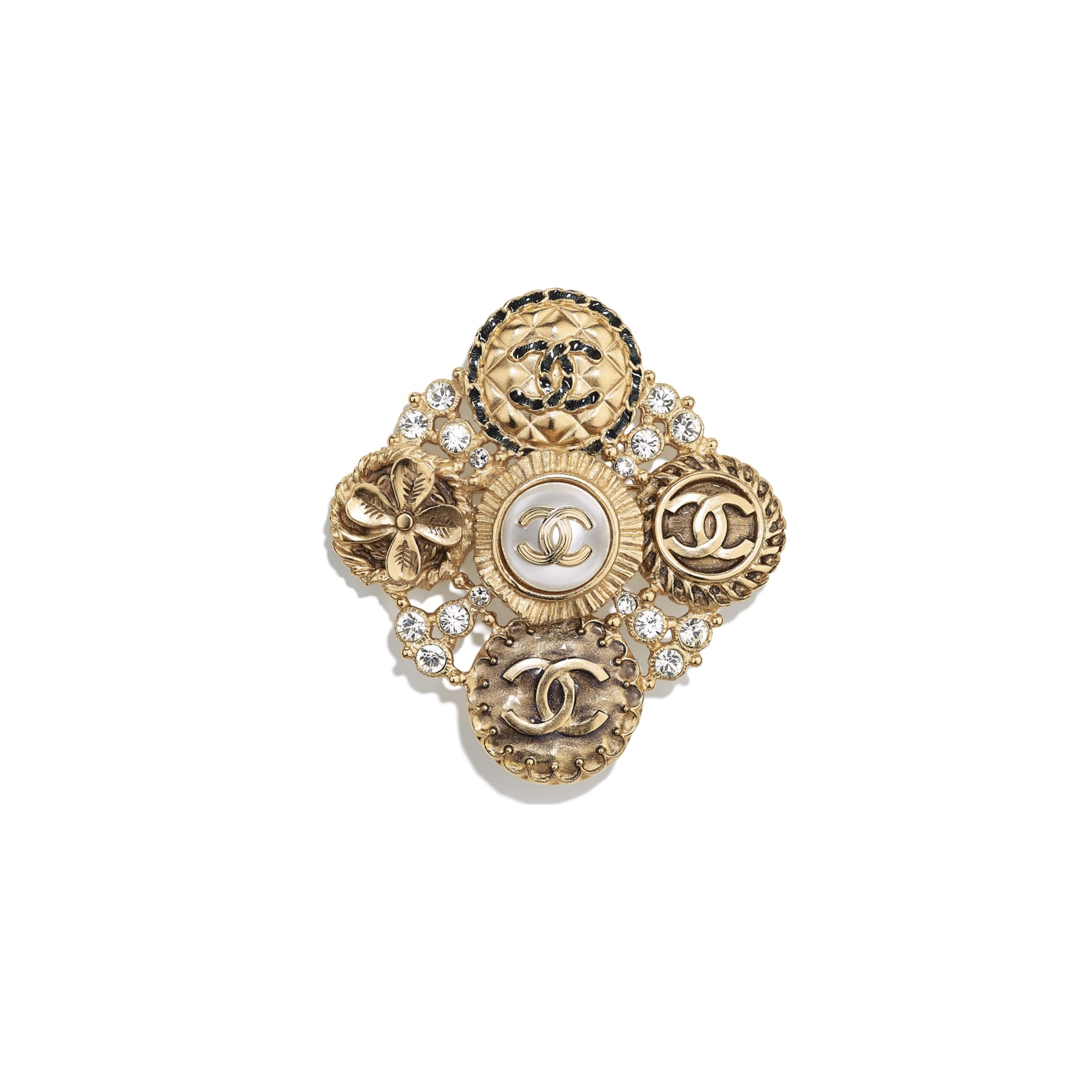 Brooch - Gold, Crystal & Pearly White - Metal, Diamantés & Resin - Default view - see standard sized version