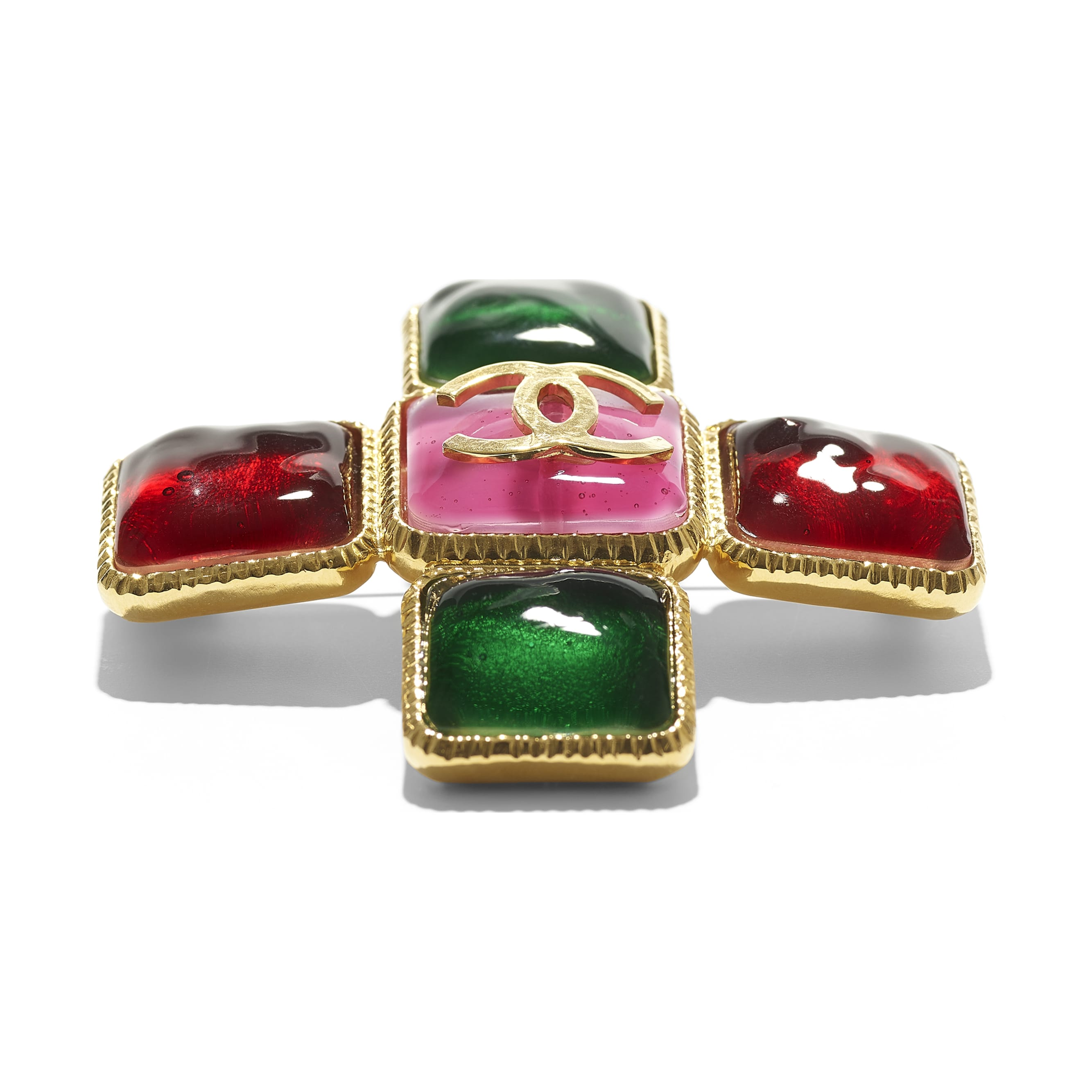 Brooch - Gold, Green, Burgundy & Pink - Metal & Resin - CHANEL - Alternative view - see standard sized version