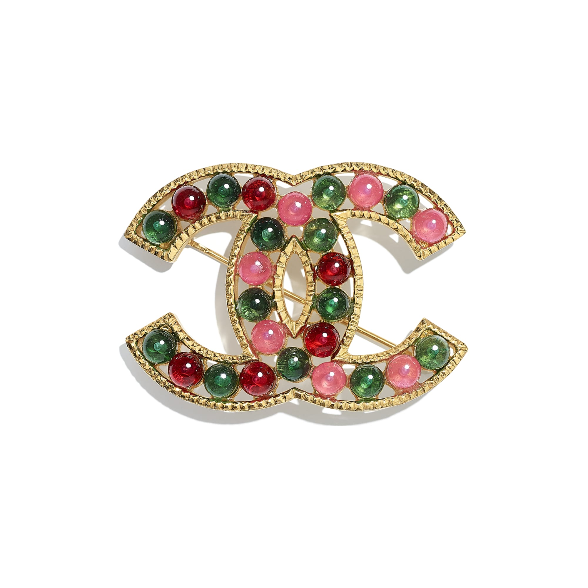 Brooch - Gold, Green, Burgundy & Pink - Metal & Resin - CHANEL - Default view - see standard sized version