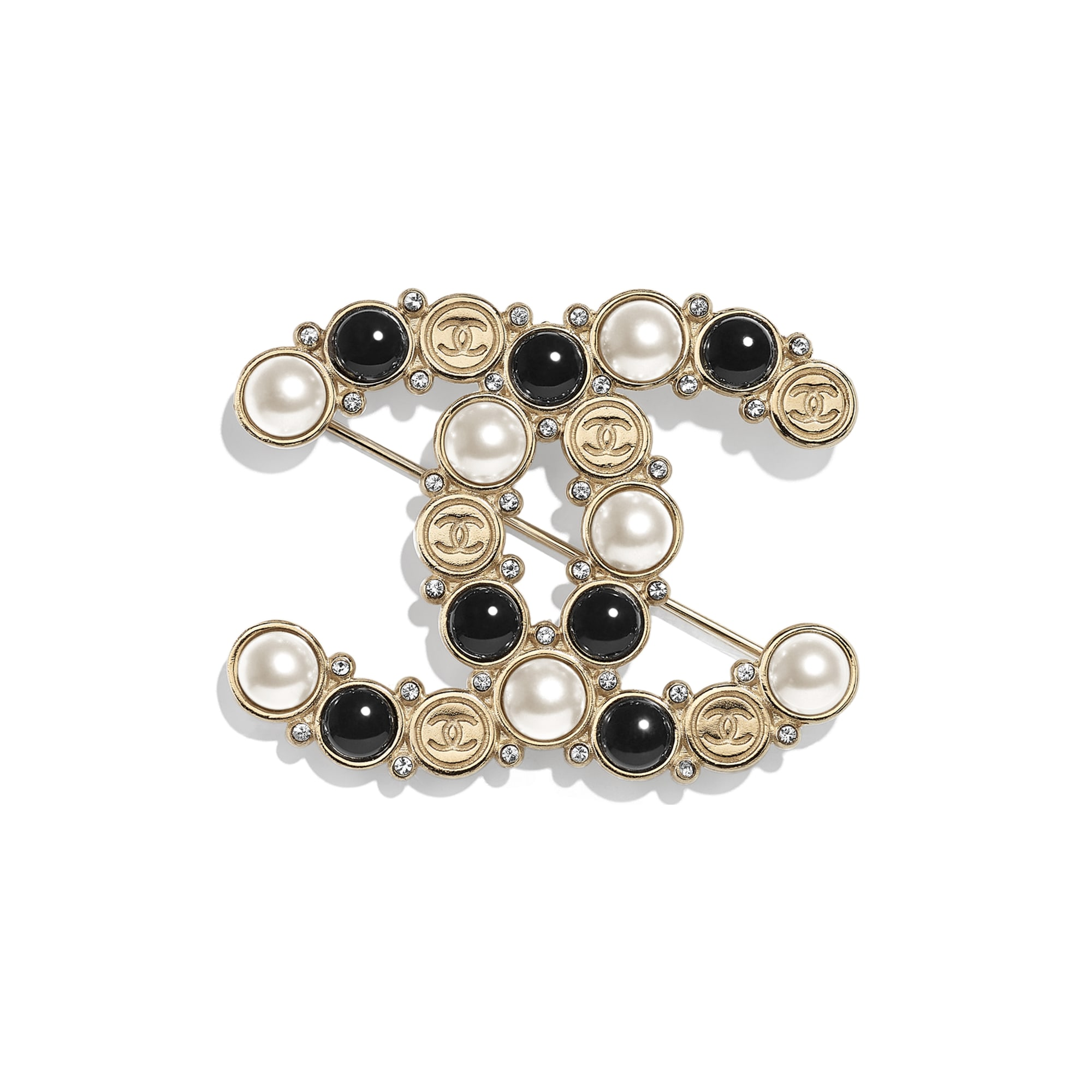 Brooch - Gold, Pearly White, Black & Crystal - Metal, Glass Pearls, Imitation Pearls & Diamanté - CHANEL - Default view - see standard sized version