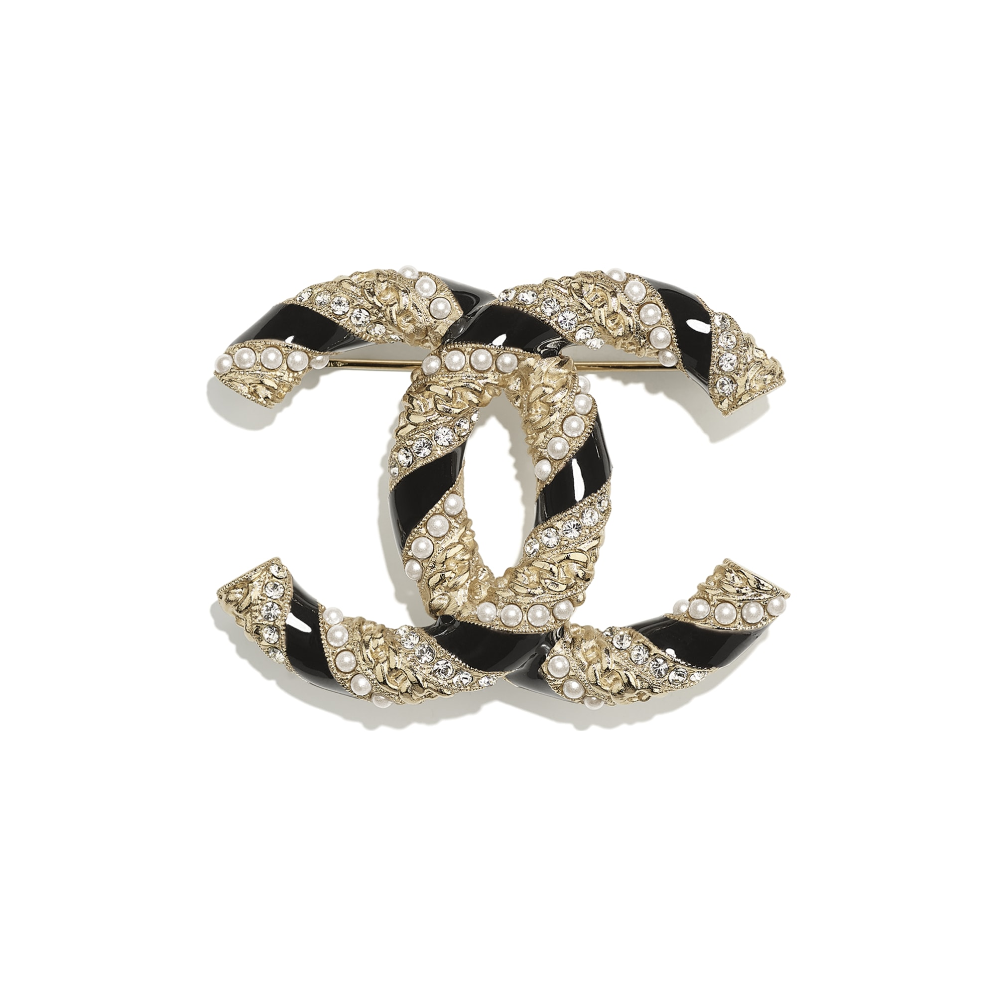 Brooch - Gold, Pearly White, Black & Crystal - Metal, Glass Pearls & Diamantés - CHANEL - Default view - see standard sized version