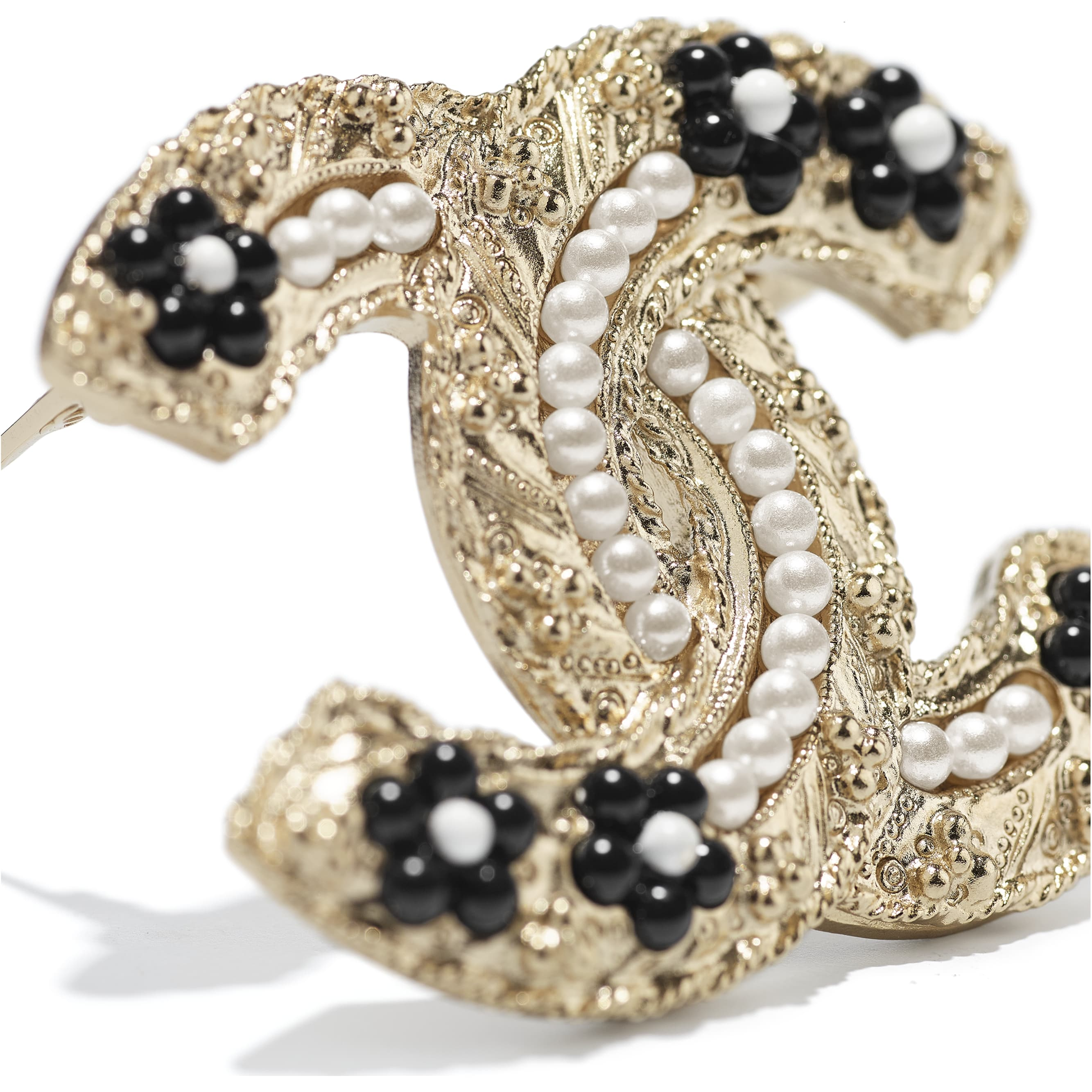 Brooch - Gold, Pearly White & Black - Metal, Glass Pearls & Resin - CHANEL - Alternative view - see standard sized version