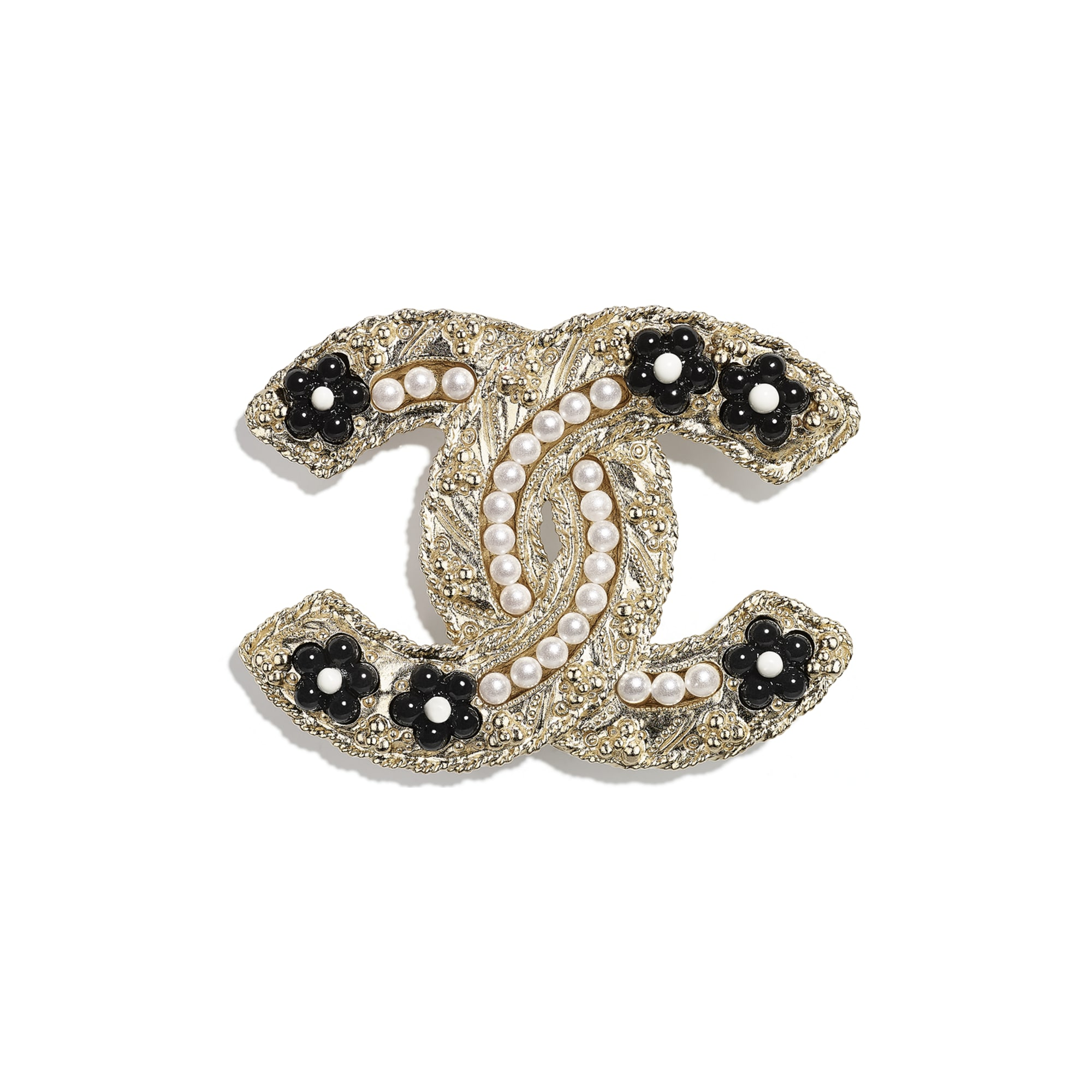 Brooch - Gold, Pearly White & Black - Metal, Glass Pearls & Resin - CHANEL - Default view - see standard sized version