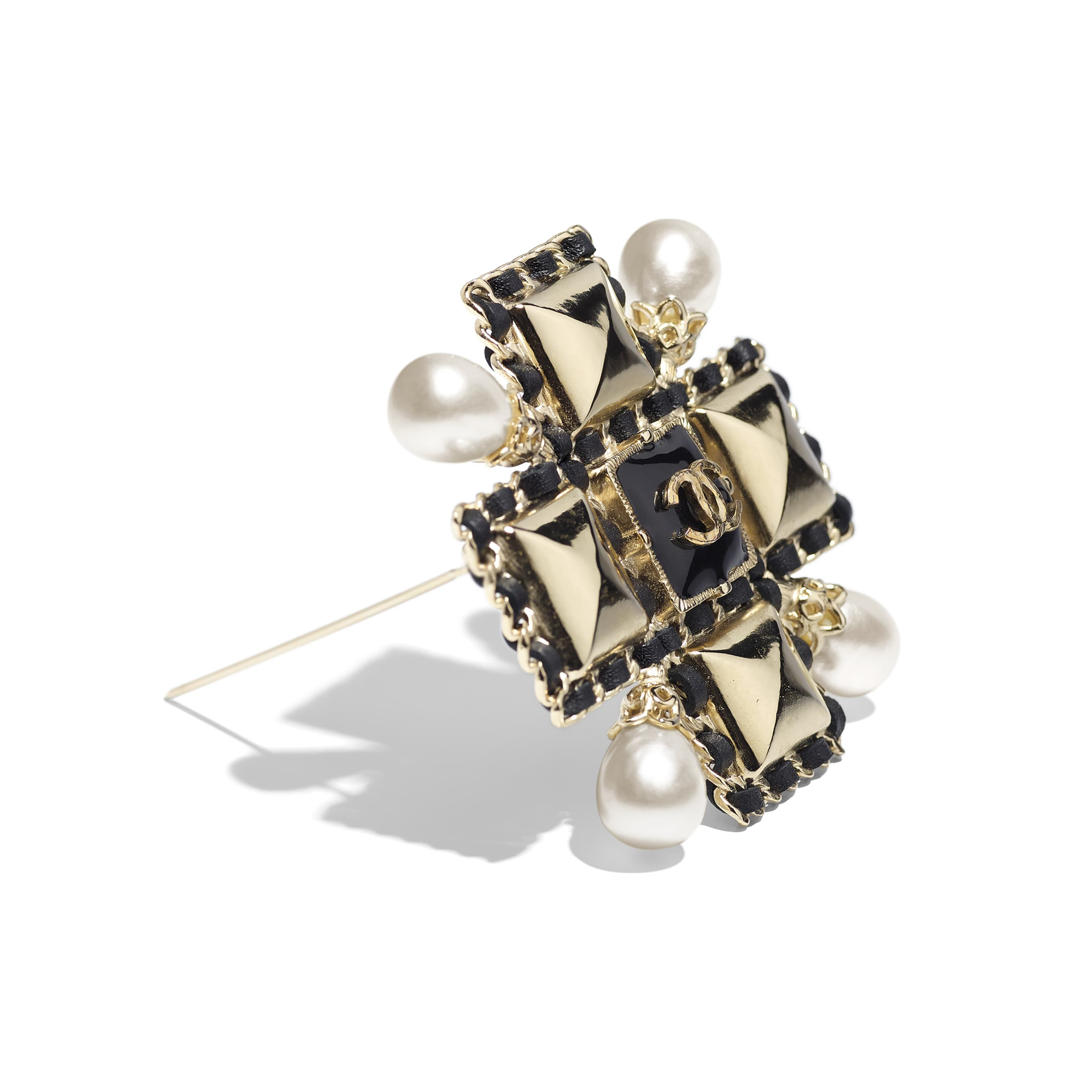 Brooch - Gold, Pearly White & Black - Metal, Imitation Pearls, Lambskin & Resin - Alternative view - see standard sized version