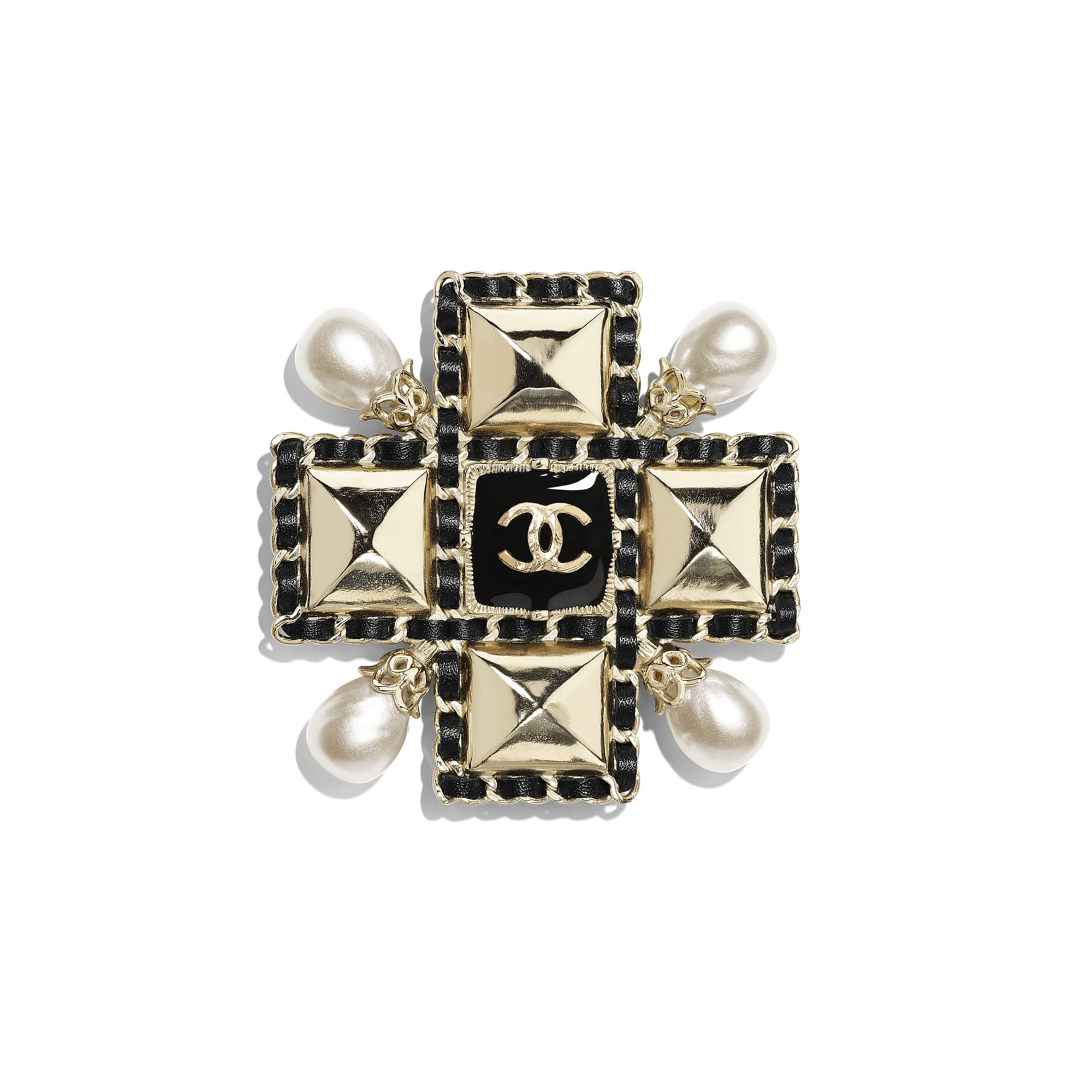 Brooch - Gold, Pearly White & Black - Metal, Imitation Pearls, Lambskin & Resin - CHANEL - Default view - see standard sized version
