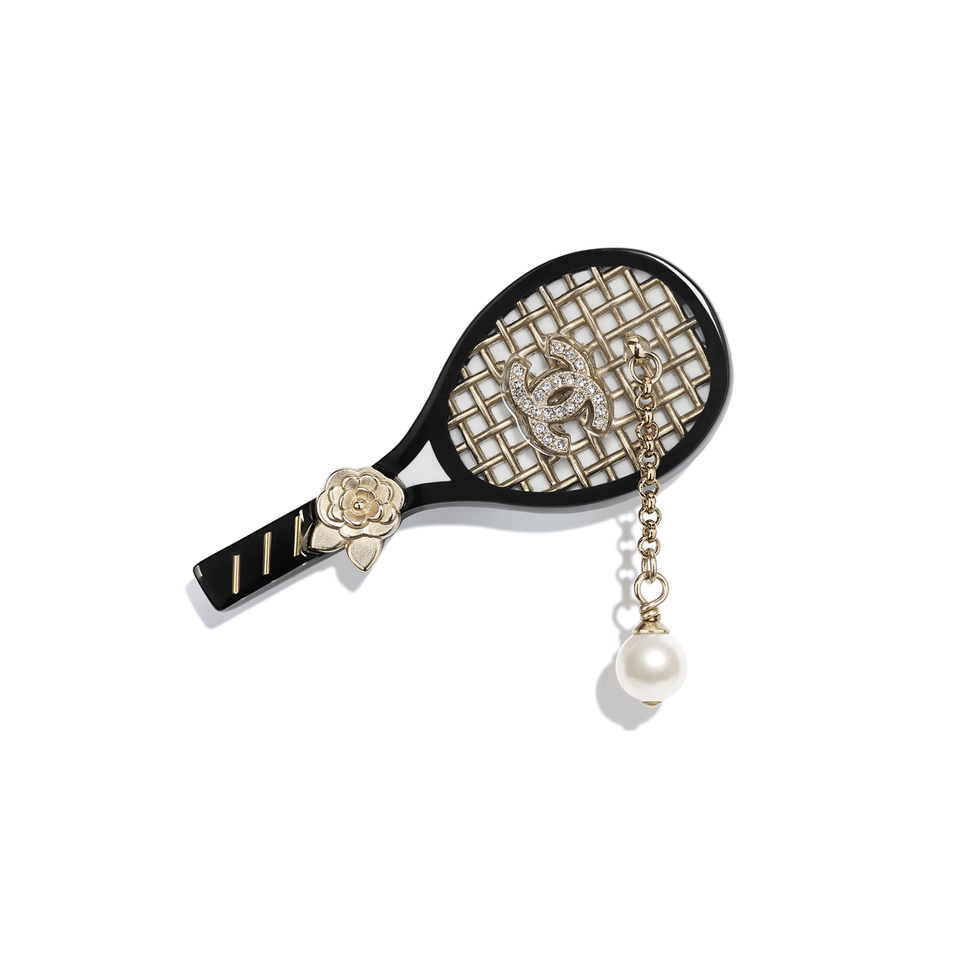 Brooch - Gold, Pearly White, Crystal & Black - Metal, Glass Pearls, Diamanté & Resin - CHANEL - Default view - see standard sized version