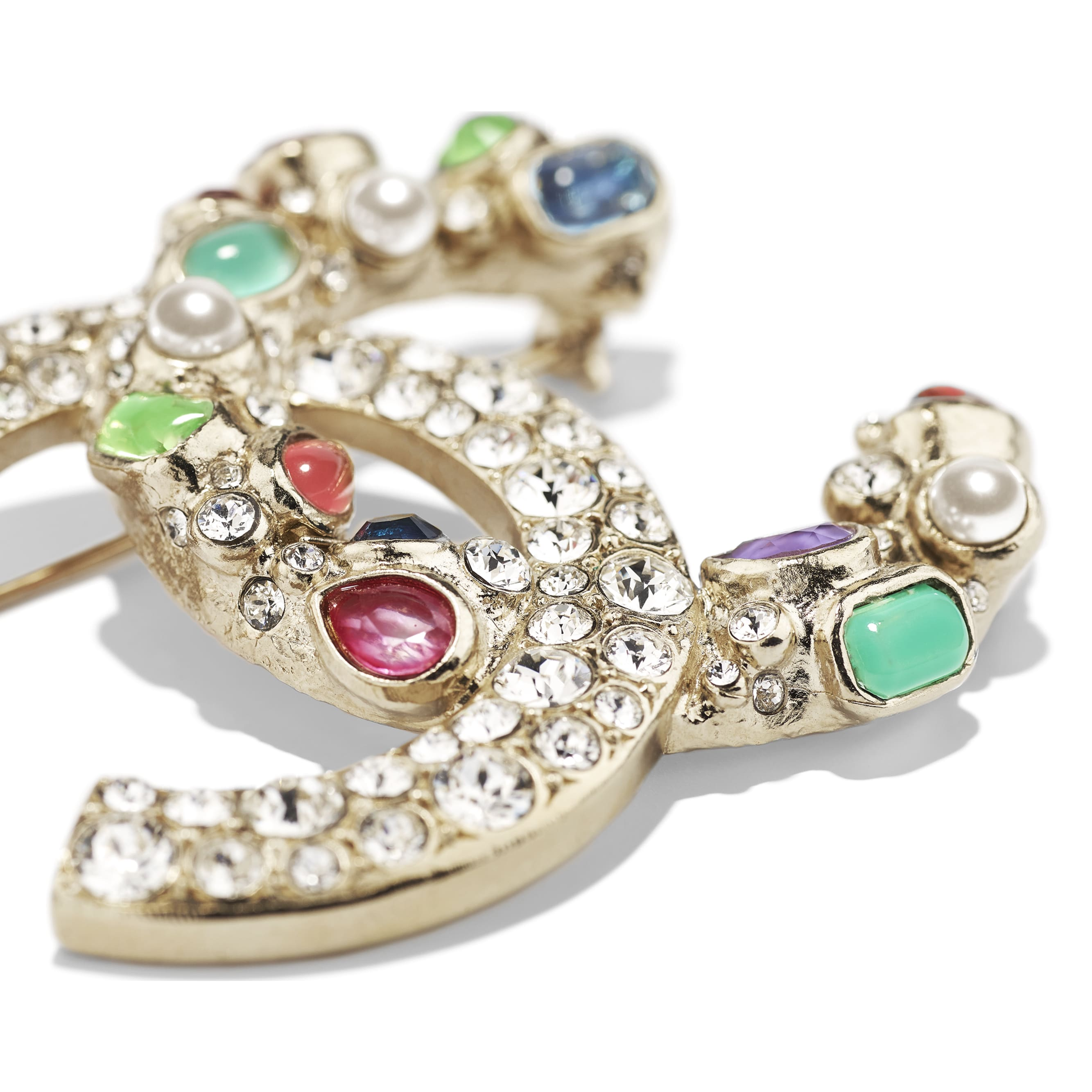 Brooch - Gold, Pearly White, Crystal, Green & Pink - Metal, Glass Pearls & Strass - CHANEL - Alternative view - see standard sized version