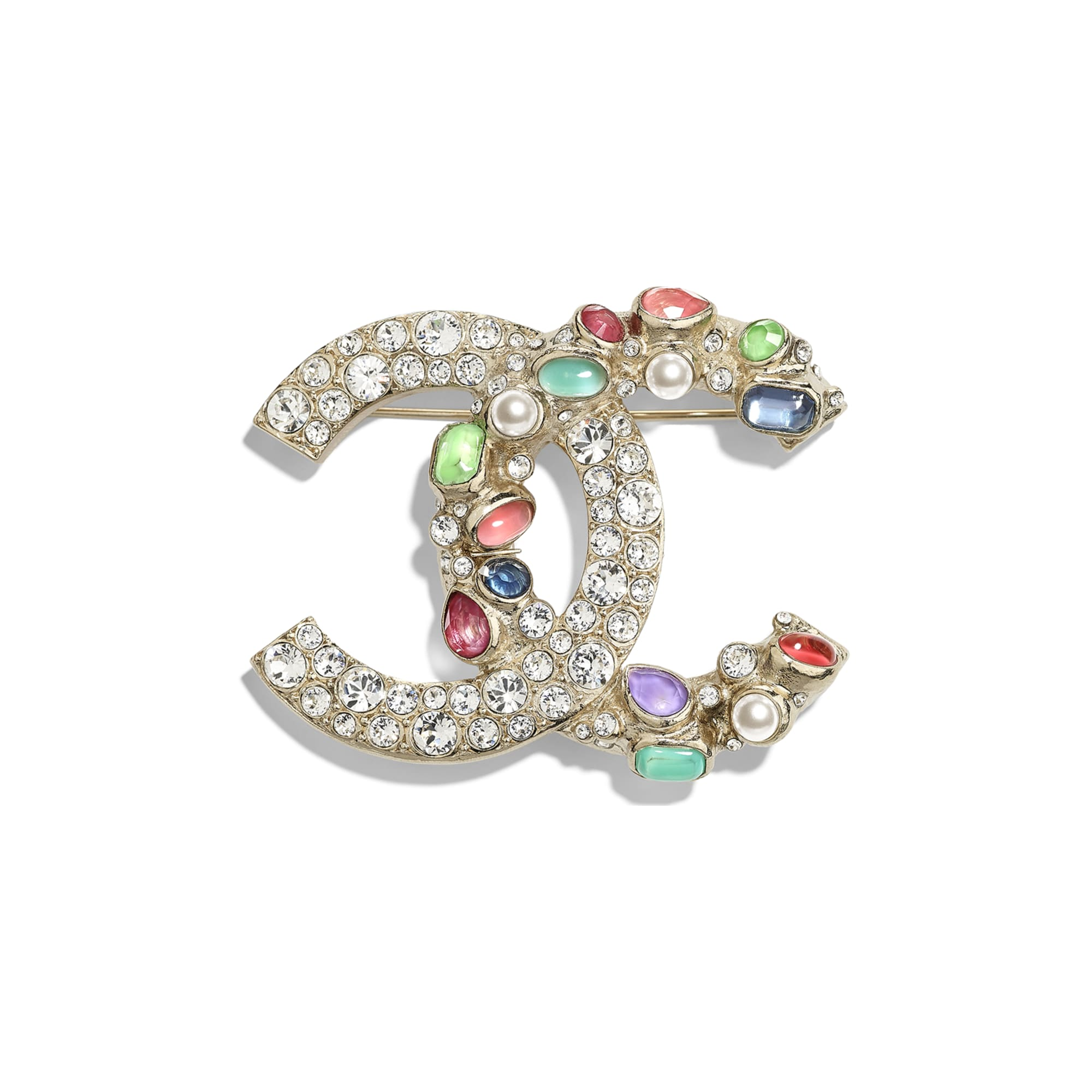 Brooch - Gold, Pearly White, Crystal, Green & Pink - Metal, Glass Pearls & Strass - CHANEL - Default view - see standard sized version