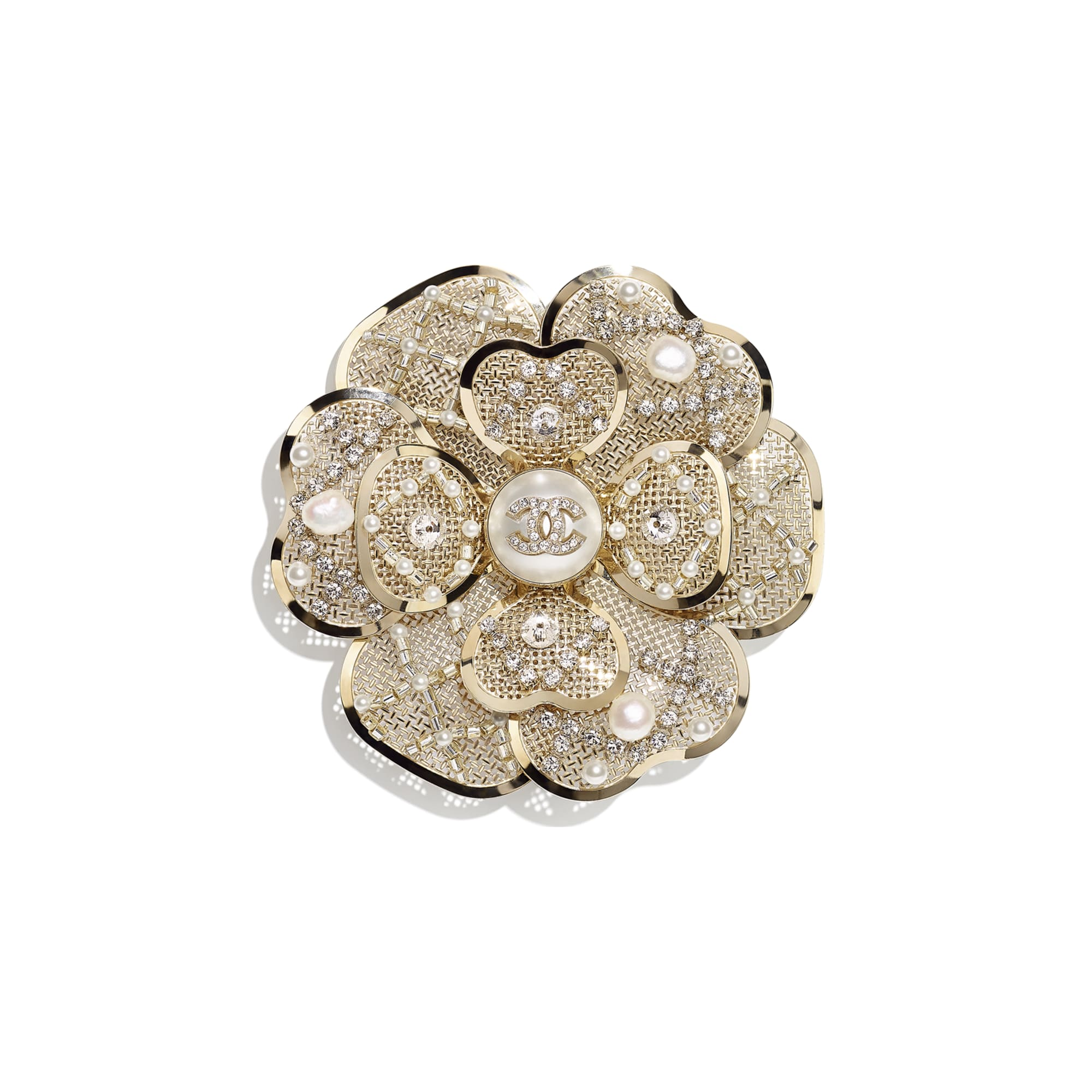 Brooch - Gold, Pearly White & Crystal - Metal, Cultured Fresh Water Pearls, Glass Pearls, Imitation Pearls & Diamanté - CHANEL - Default view - see standard sized version