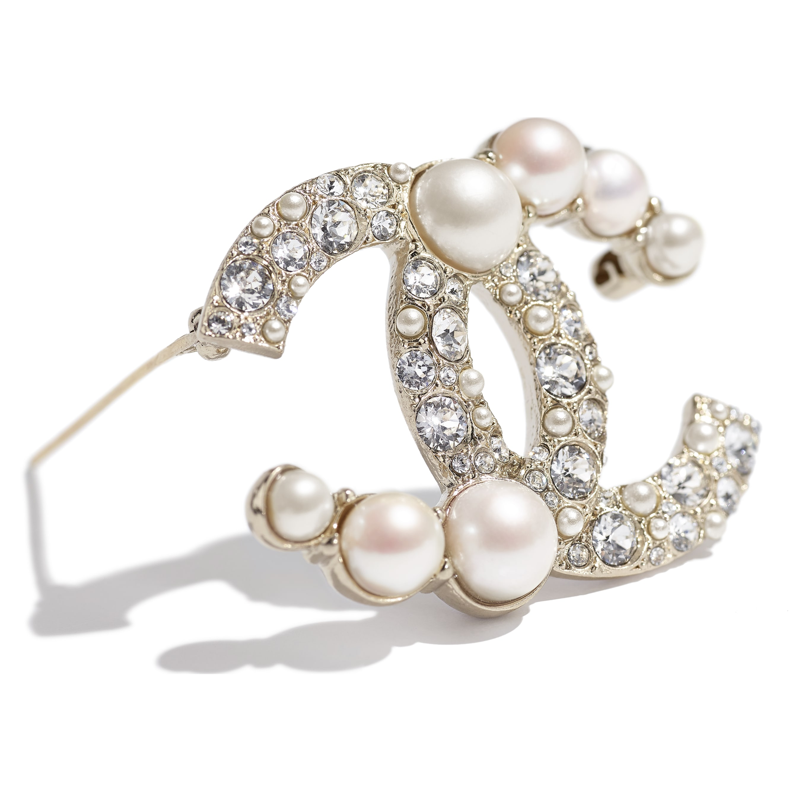 Brooch - Gold, Pearly White & Crystal - Metal, Cultured Freshwater Pearls, Glass Pearls & Strass - CHANEL - Alternative view - see standard sized version