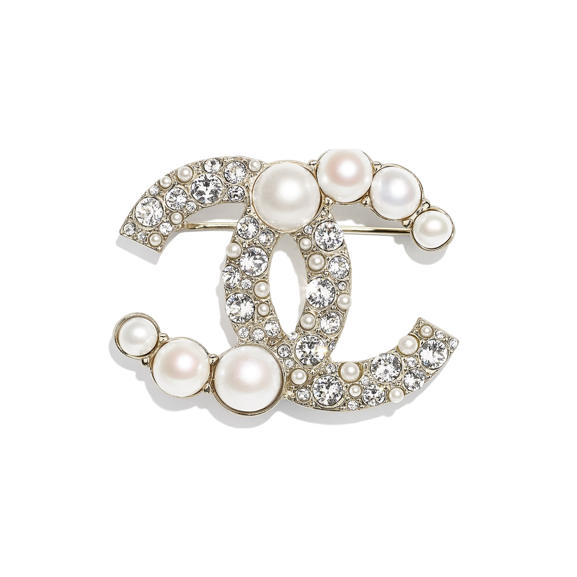 Brooch - Gold, Pearly White & Crystal - Metal, Cultured Freshwater Pearls, Glass Pearls & Strass - CHANEL - Default view - see standard sized version