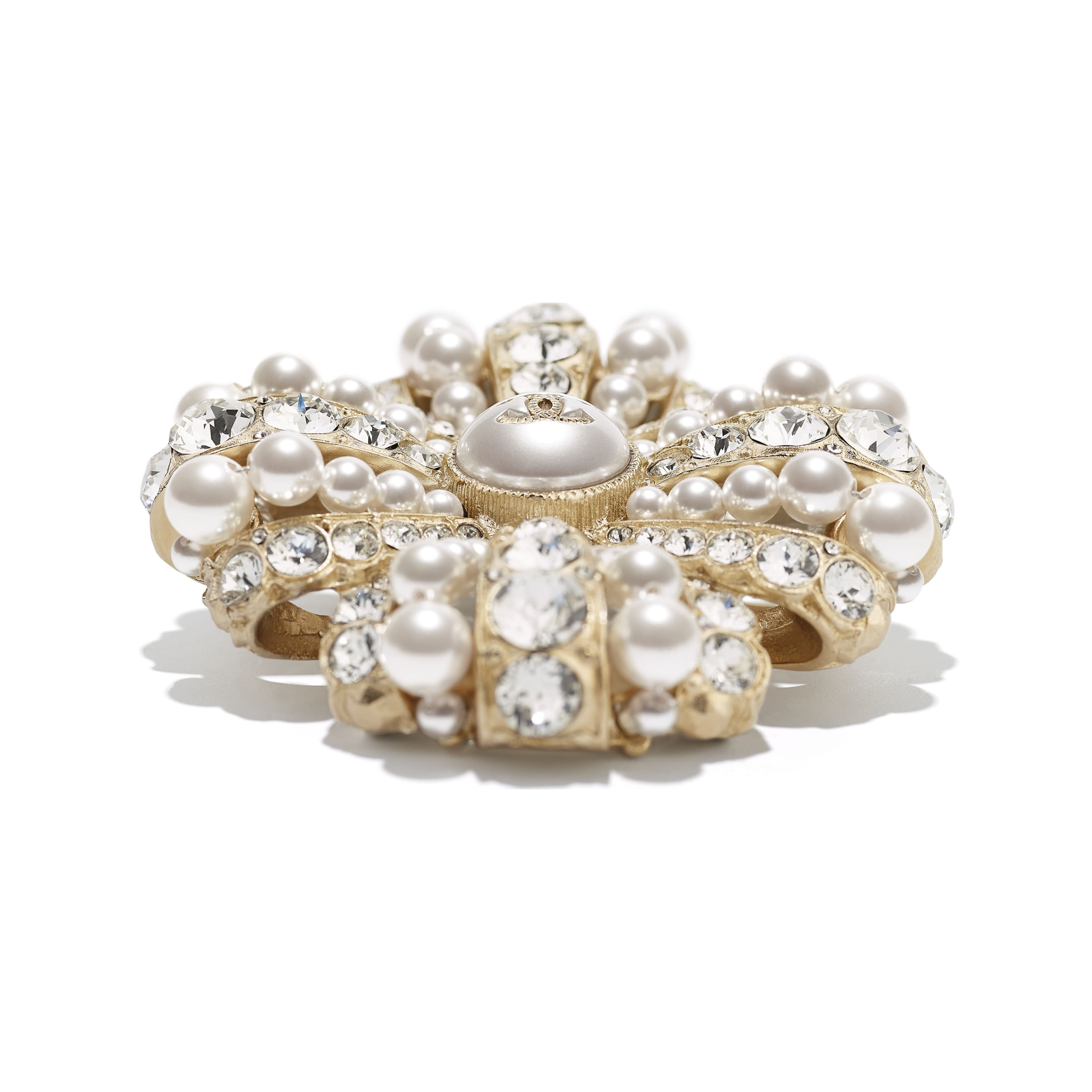 Brooch - Gold, Pearly White & Crystal - Metal, Glass Pearls, Imitation Pearls & Diamanté - Alternative view - see standard sized version