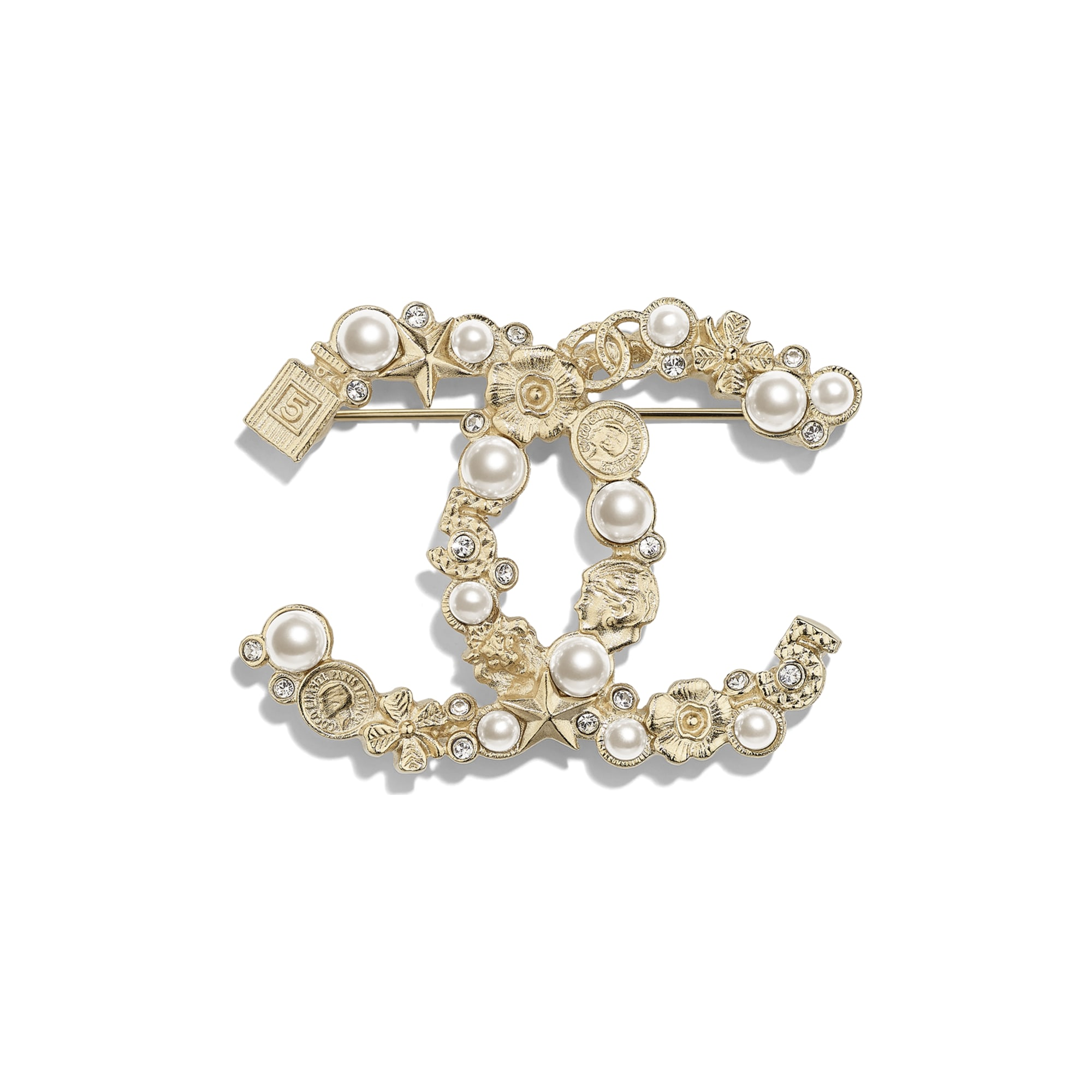 Brooch - Gold, Pearly White & Crystal - Metal, Glass Pearls, Imitation Pearls & Strass - CHANEL - Default view - see standard sized version