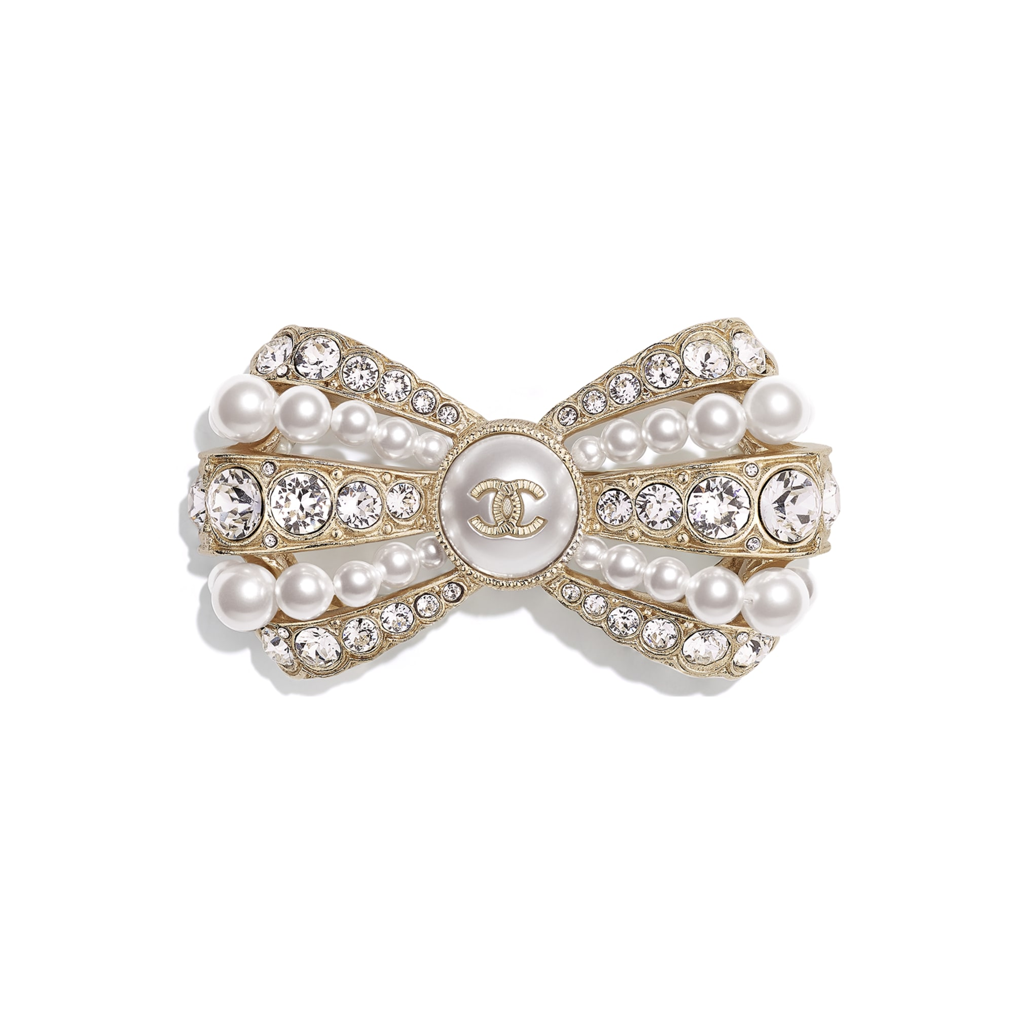 Brooch - Gold, Pearly White & Crystal - Metal, Glass Pearls, Imitation Pearls & Diamanté - CHANEL - Default view - see standard sized version