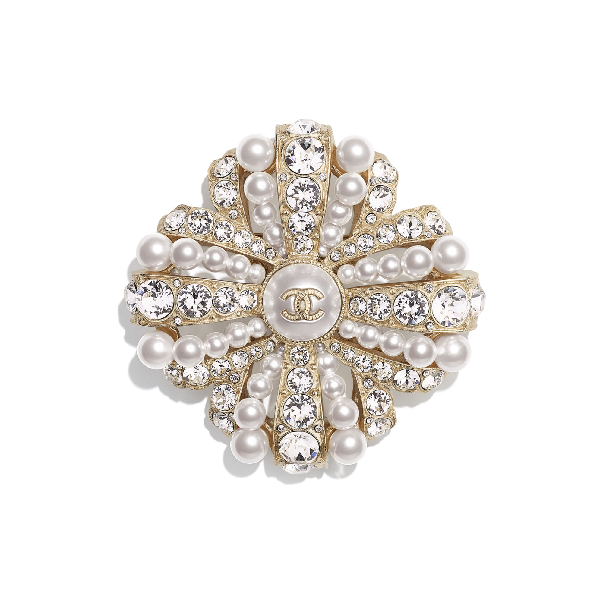 Brooch - Gold, Pearly White & Crystal - Metal, Glass Pearls, Imitation Pearls & Diamanté - Default view - see standard sized version