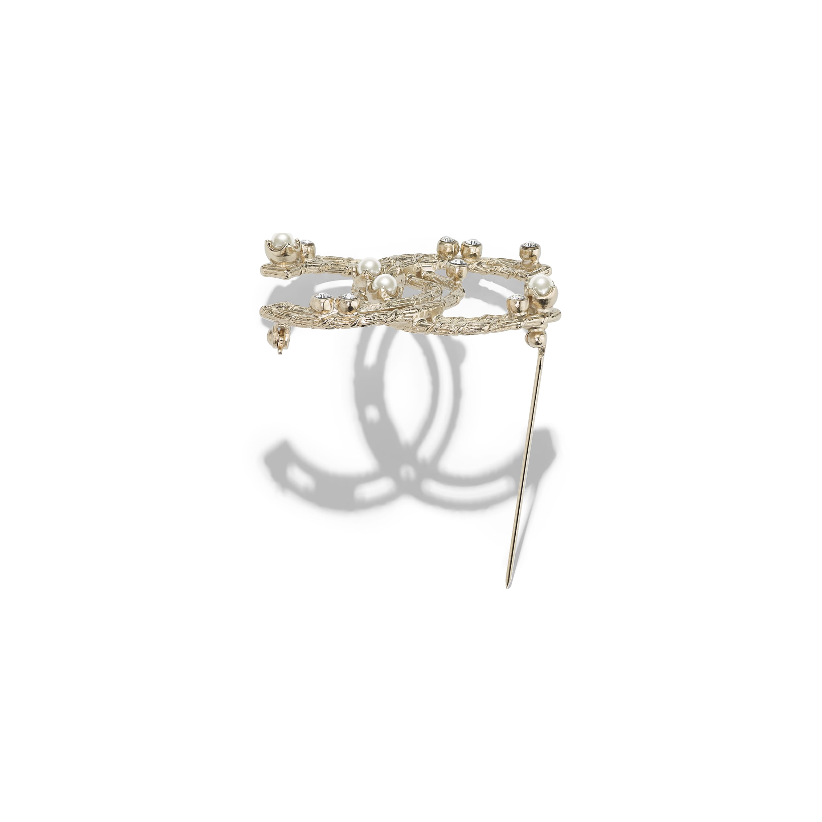 Brooch - Gold, Pearly White & Crystal - Metal, Glass Pearls & Strass - Alternative view - see standard sized version