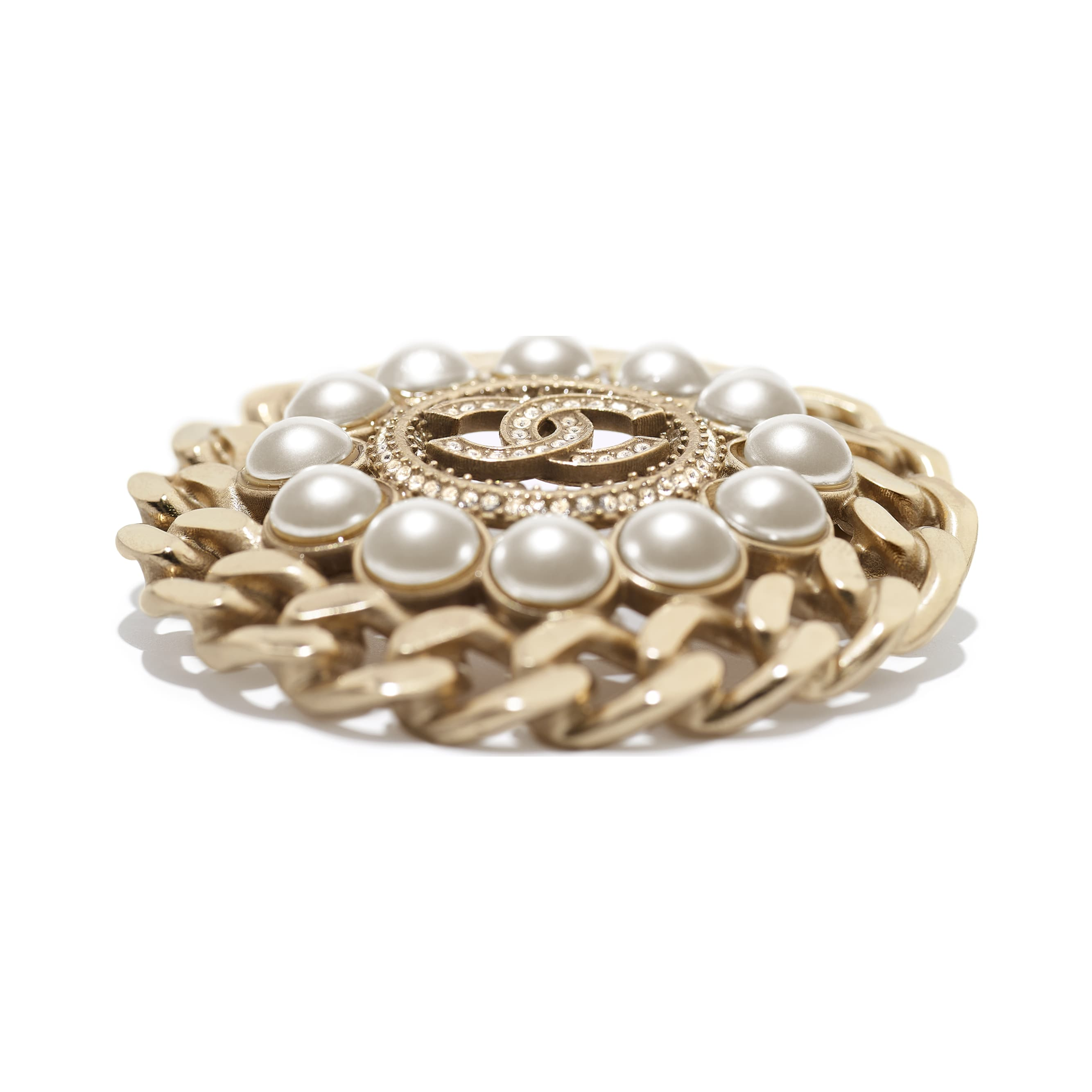 Brooch - Gold, Pearly White & Crystal - Metal, Glass Pearls & Diamantés - Alternative view - see standard sized version