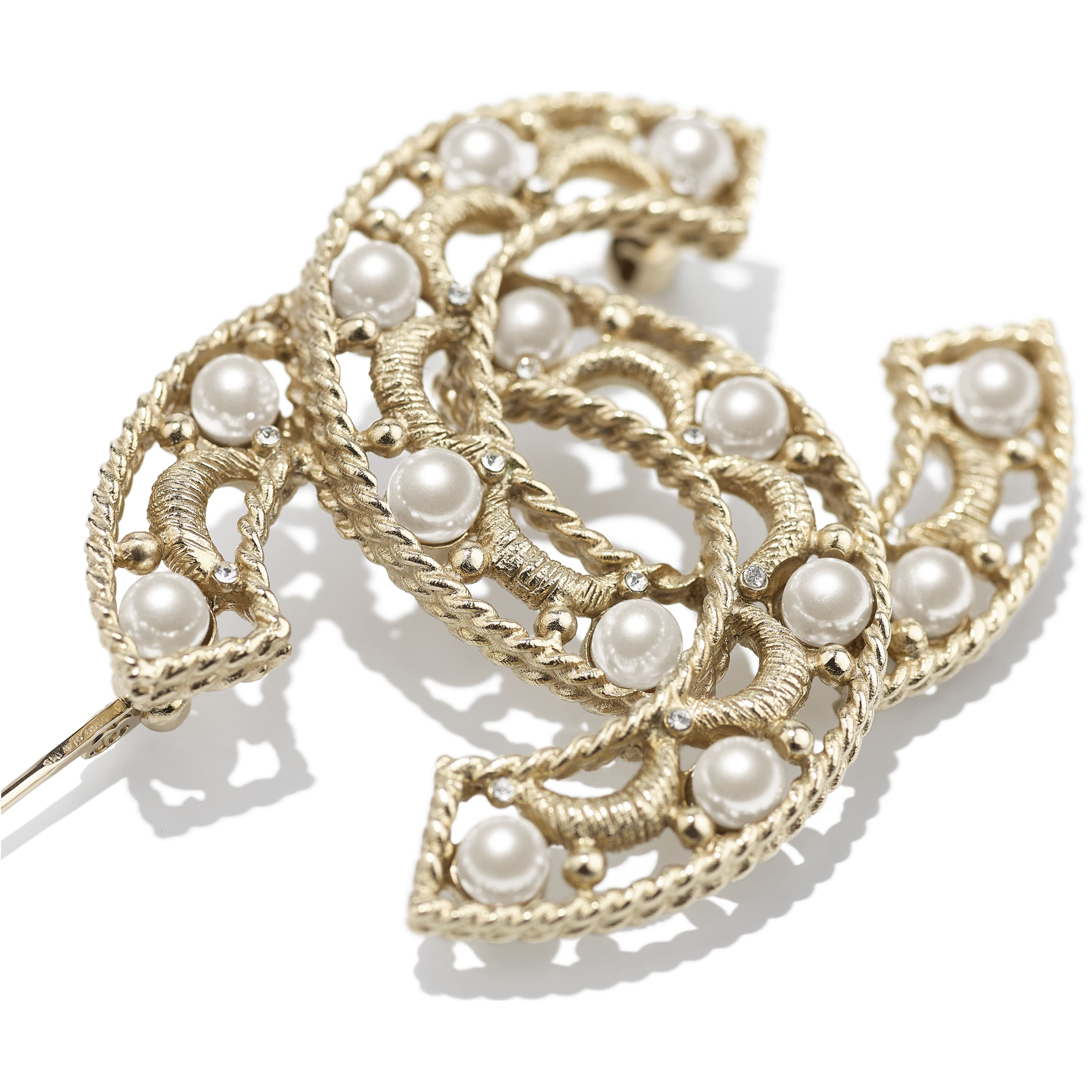 胸針 - 金、珍珠白與水晶 - 金屬、琉璃珠與水鑽 - CHANEL - 替代視圖 - 查看標準尺寸版本