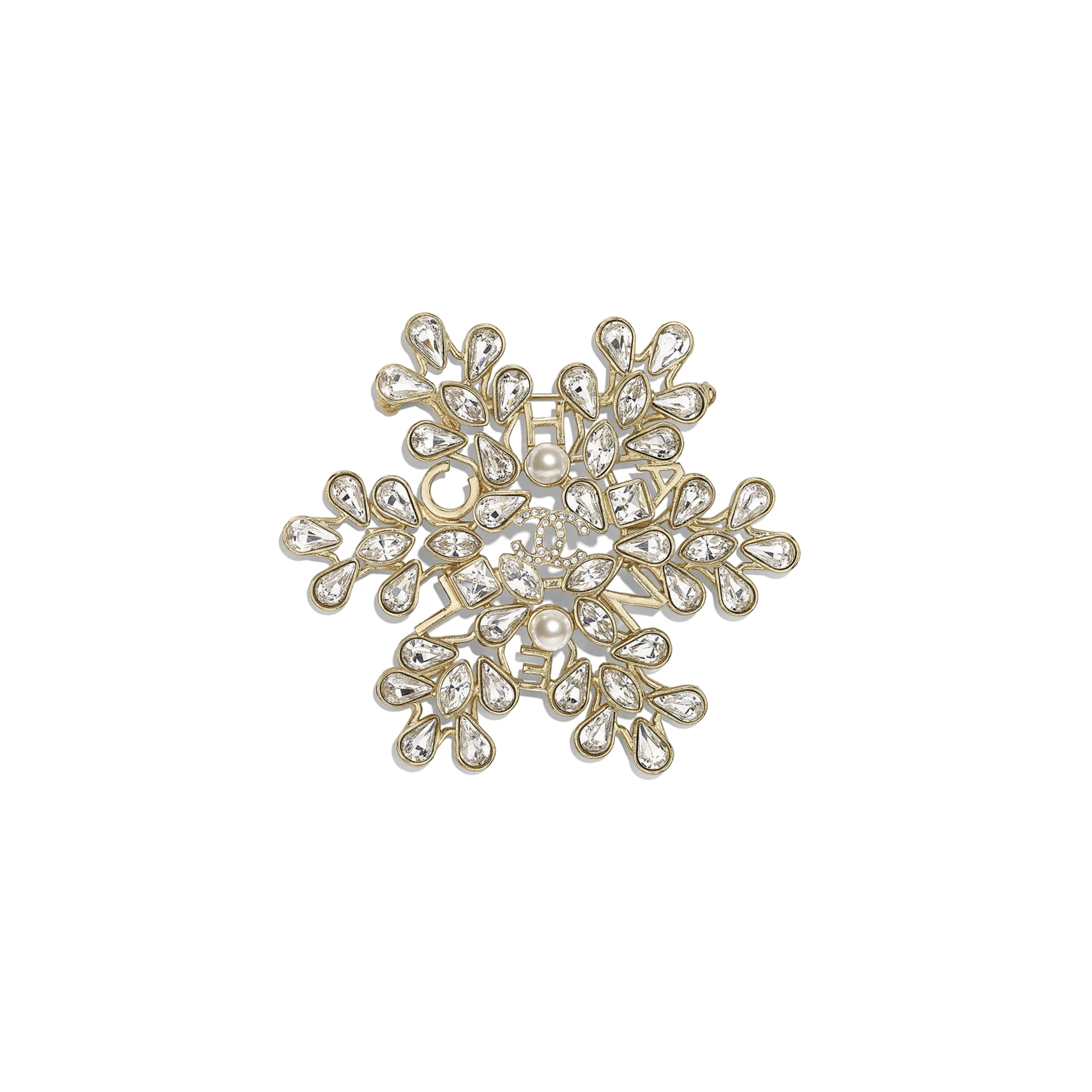 Brooch - Gold, Pearly White & Crystal - Metal, Glass Pearls & Diamantés - Default view - see standard sized version