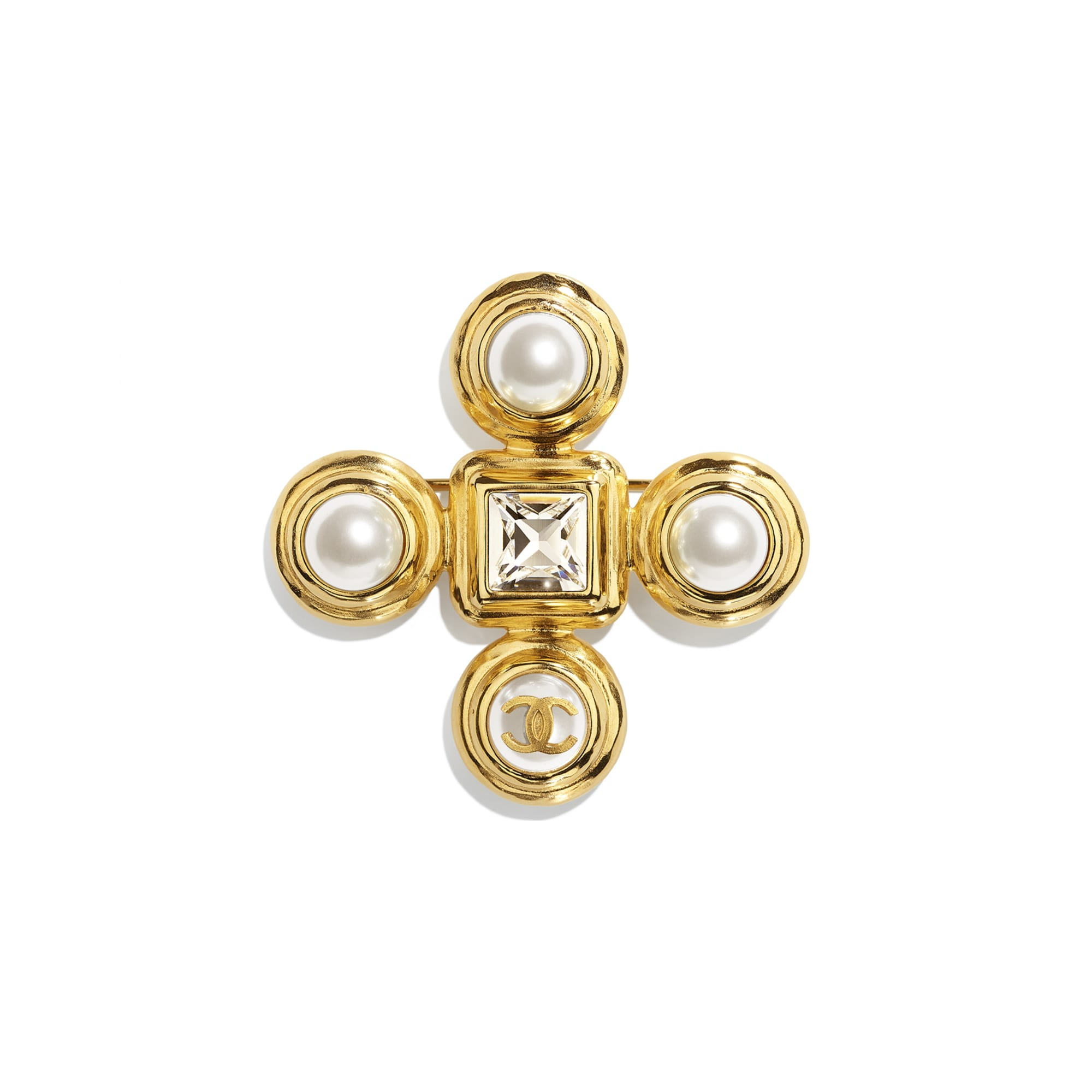 Brooch - Gold, Pearly White & Crystal - Metal, Glass Pearls & Diamantés - CHANEL - Default view - see standard sized version