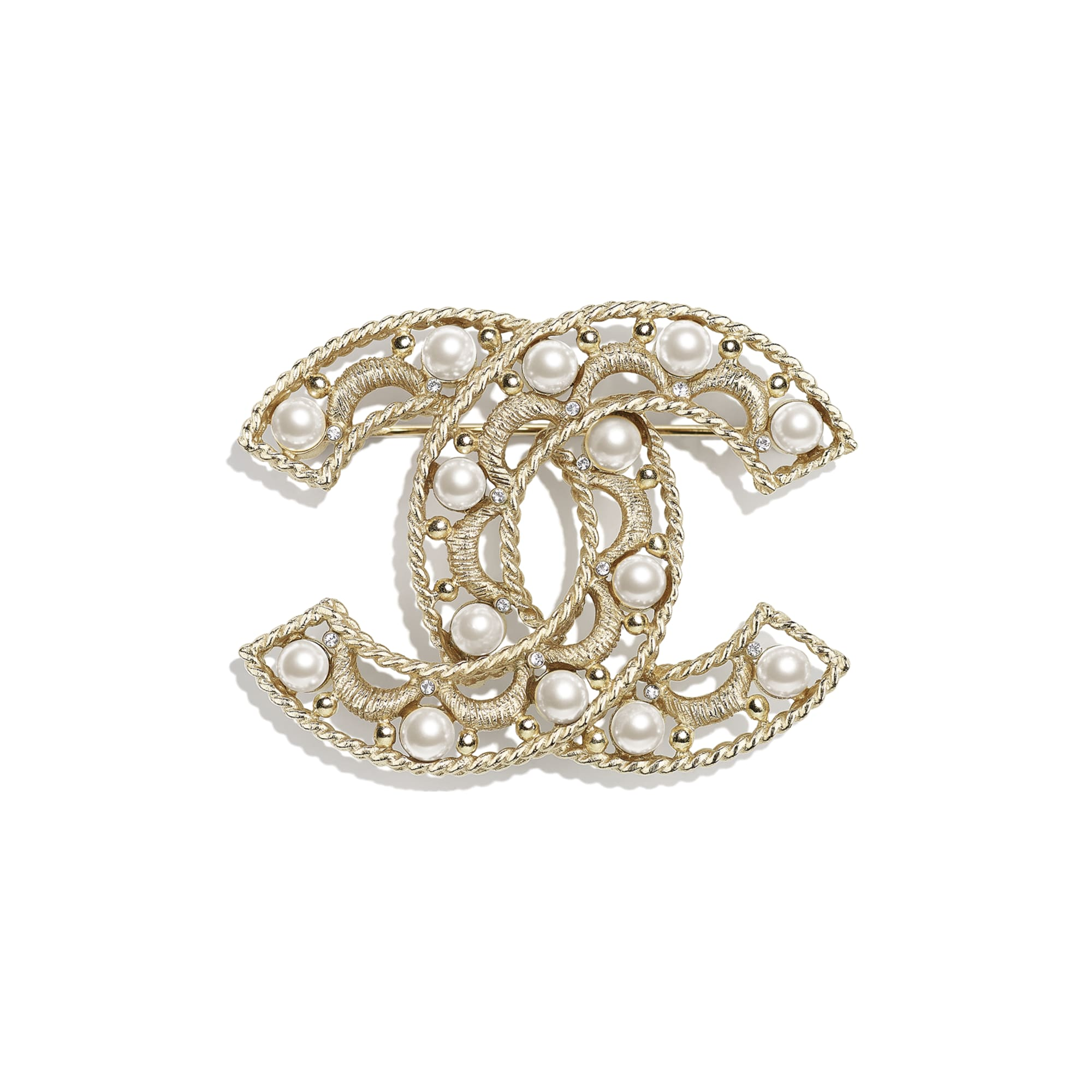 胸針 - 金、珍珠白與水晶 - 金屬、琉璃珠與水鑽 - CHANEL - 預設視圖 - 查看標準尺寸版本