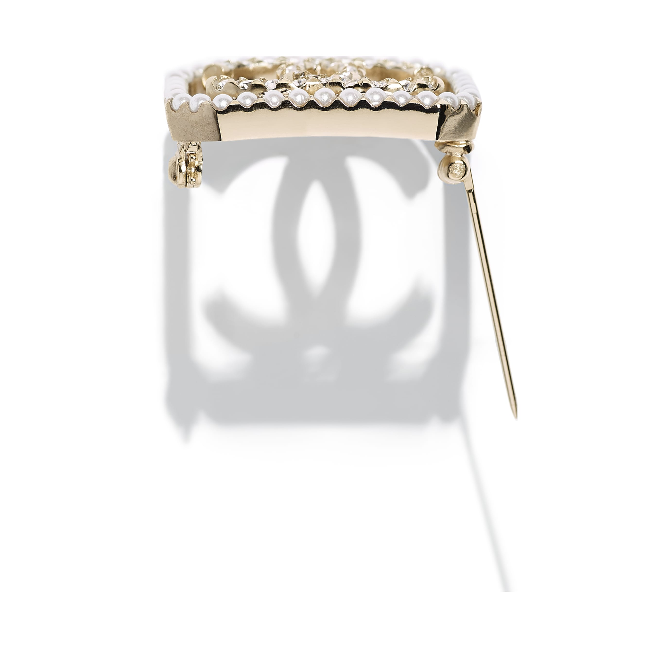 Brooch - Gold, Pearly White & Crystal - Metal, Imitation Pearls & Strass - CHANEL - Alternative view - see standard sized version