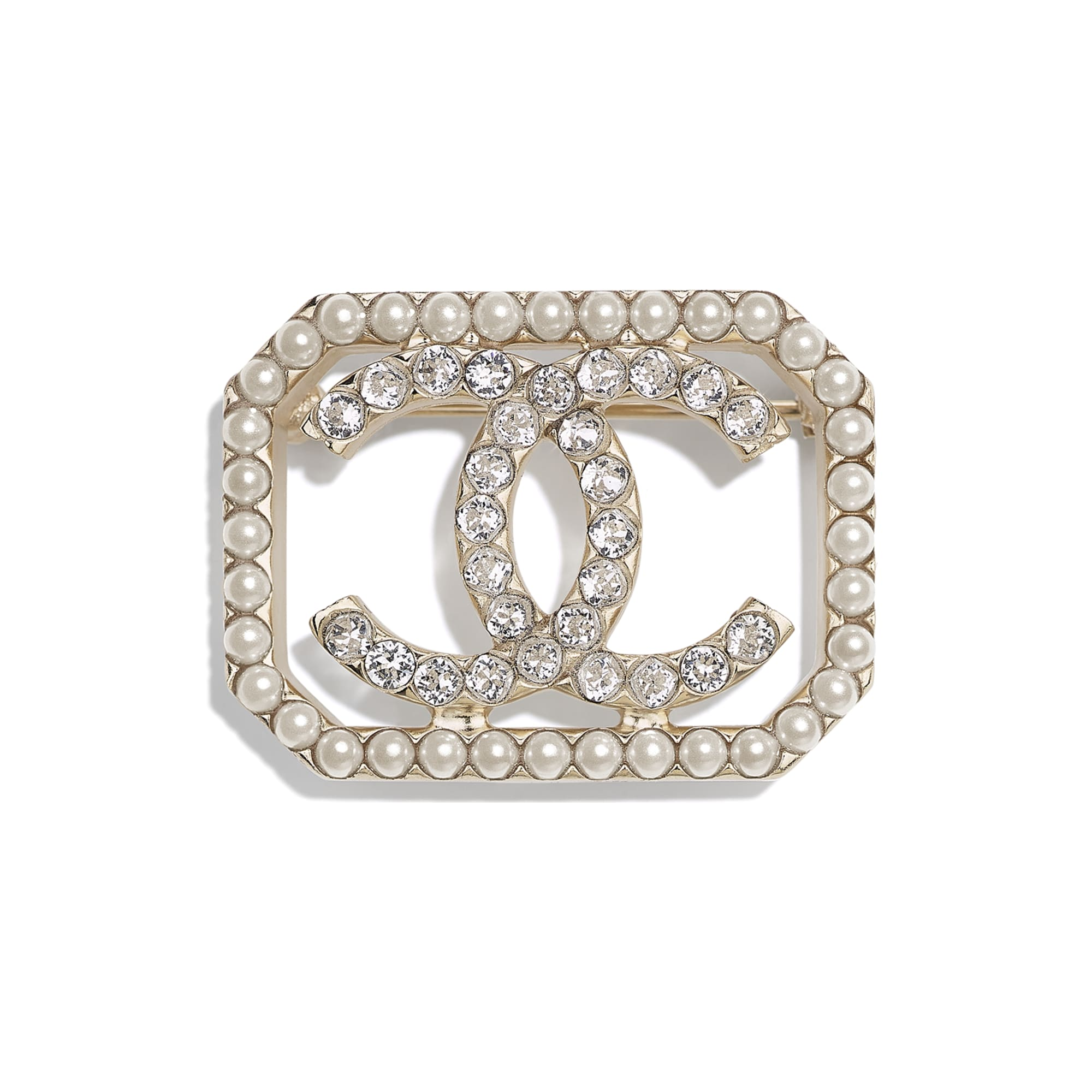 Brooch - Gold, Pearly White & Crystal - Metal, Imitation Pearls & Strass - CHANEL - Default view - see standard sized version