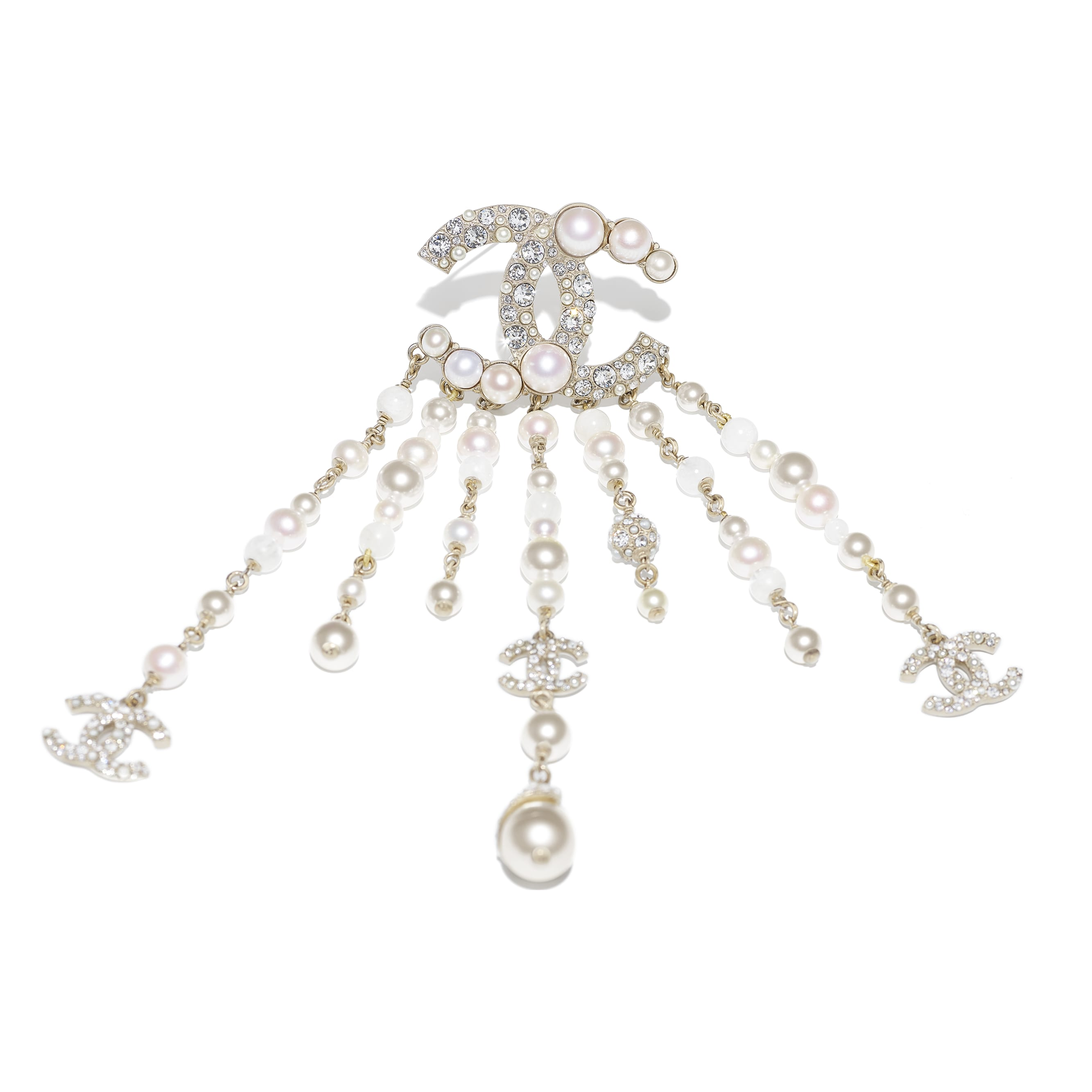 Brooch - Gold, Pearly White & Crystal - Metal, Natural Stones, Cultured Freshwater Pearls, Glass Pearls & Diamanté  - CHANEL - Alternative view - see standard sized version
