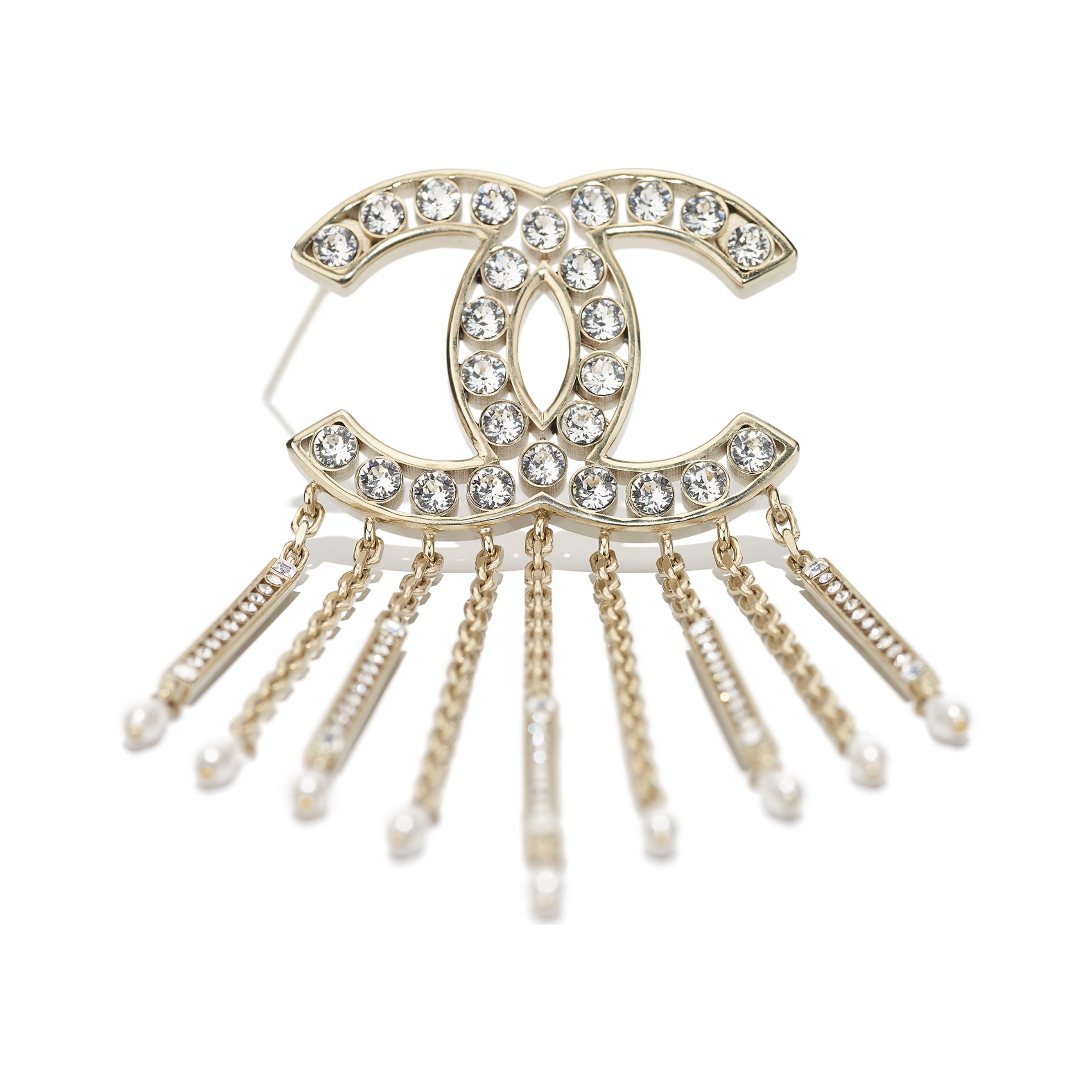 Brooch - Gold, Pearly White & Crystal - Metal, Diamantés & Resin - CHANEL - Alternative view - see standard sized version