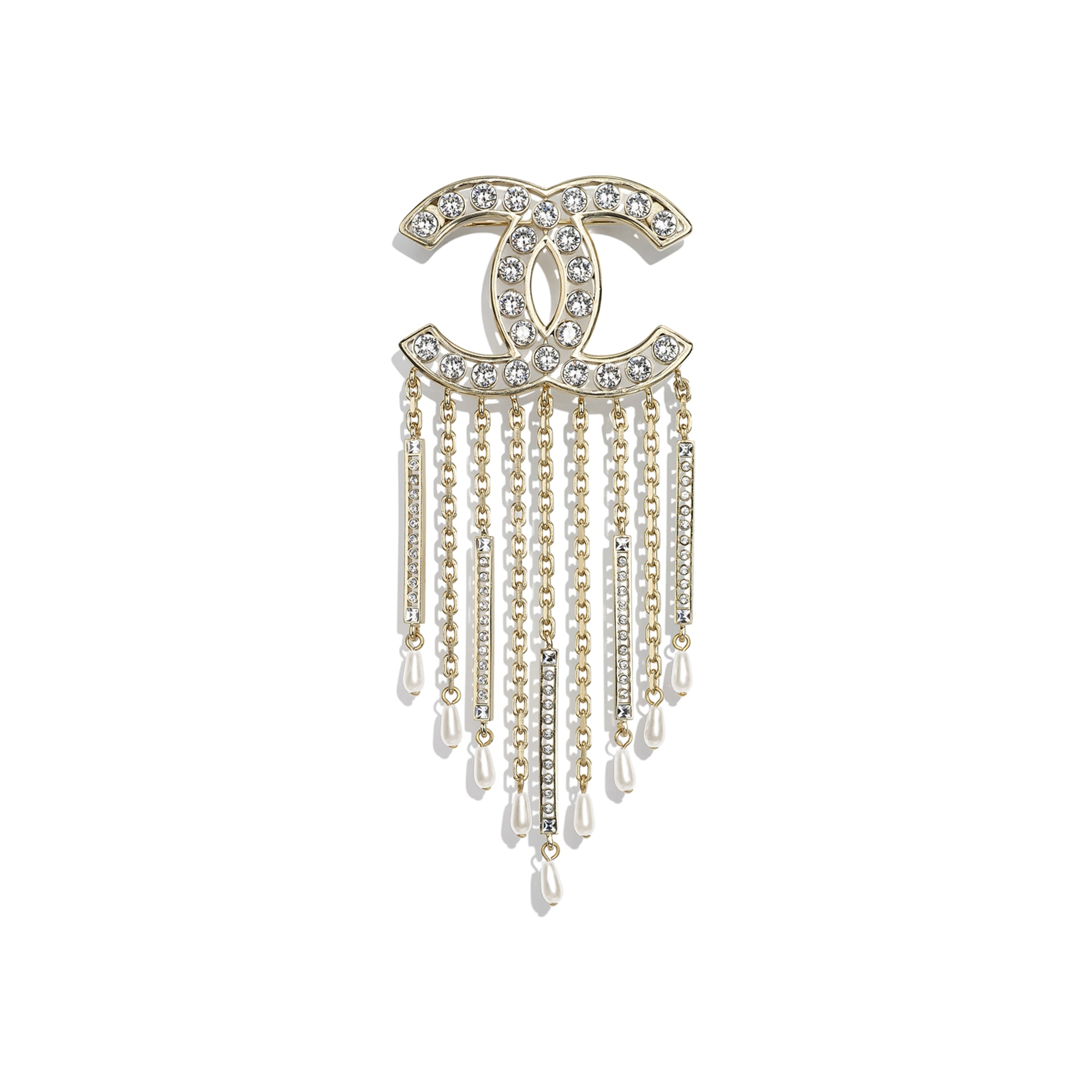 Brooch - Gold, Pearly White & Crystal - Metal, Diamantés & Resin - CHANEL - Default view - see standard sized version