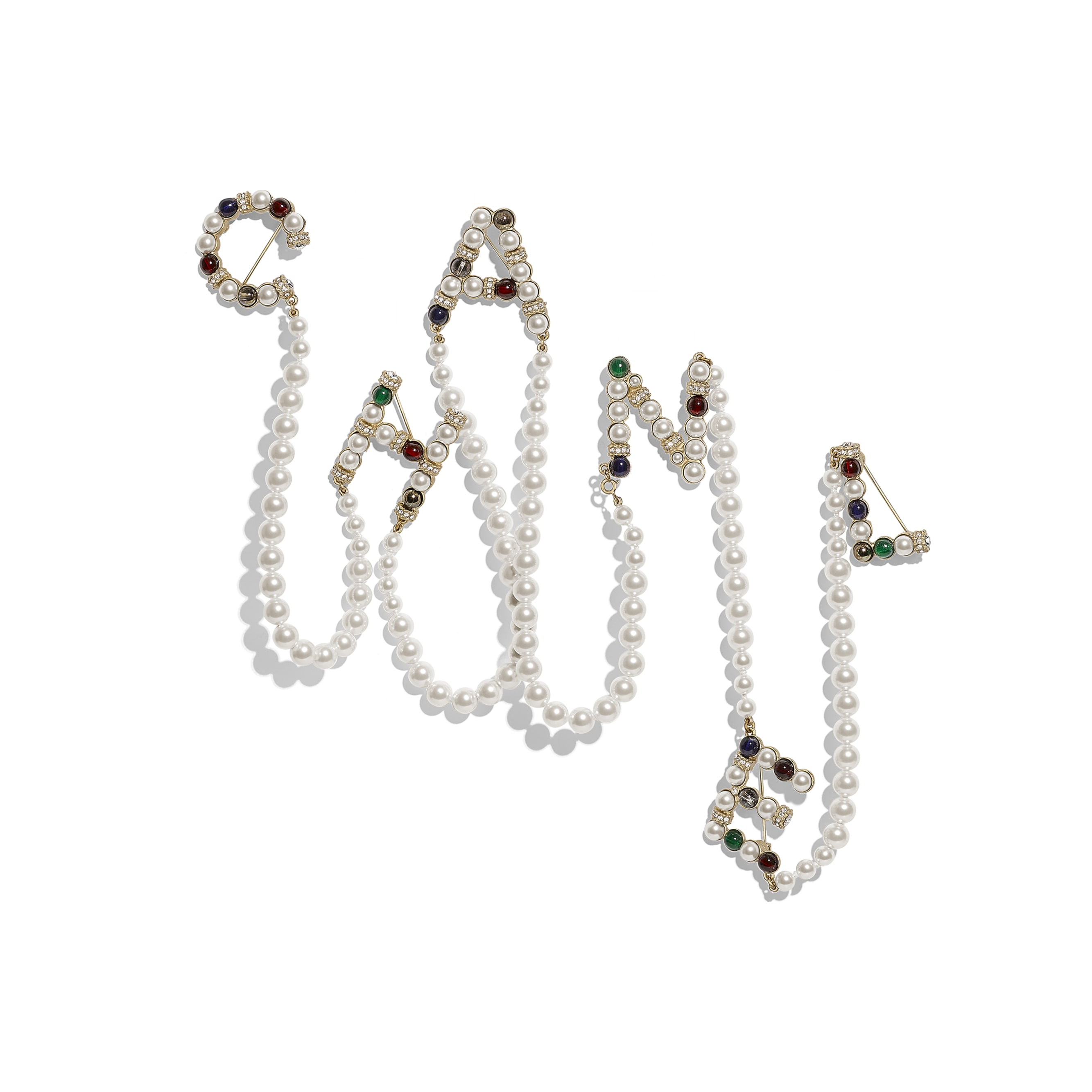 Brooch - Gold, Pearly White, Multicolour & Crystal - Metal, Glass Pearls & Diamantés - Default view - see standard sized version
